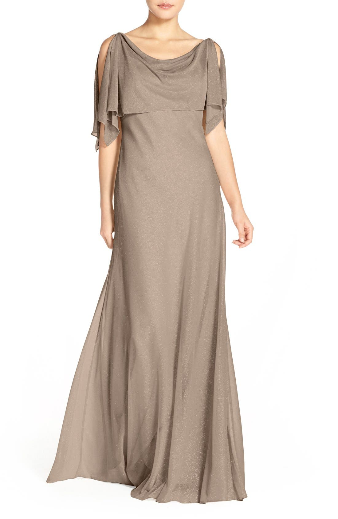 JENNY YOO, Devon Glitter Knit Gown with Detachable Capelet, Main thumbnail 1, color, TAUPE