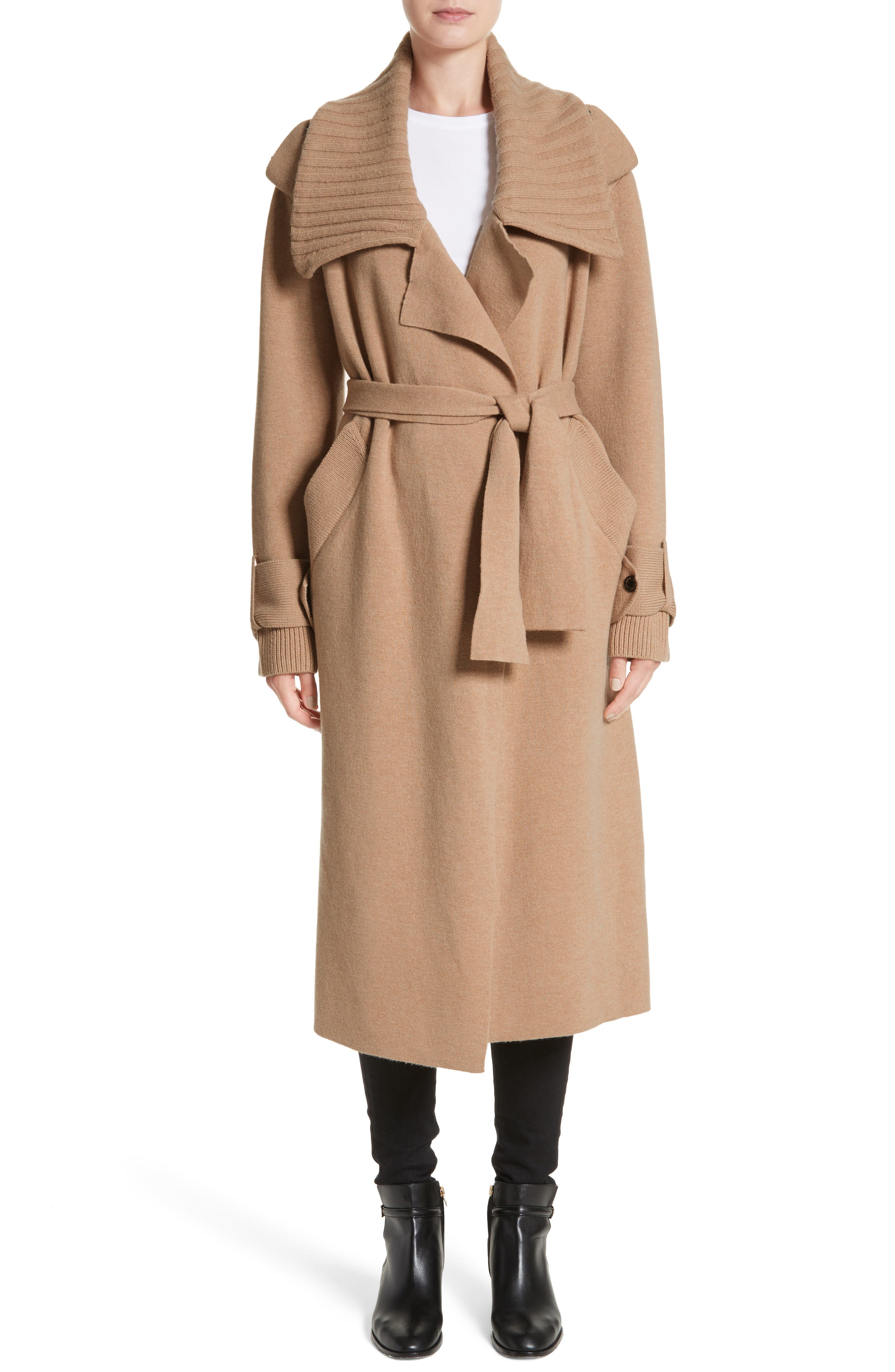 BURBERRY, Piota Wool Blend Knit Trench Coat, Main thumbnail 1, color, CAMEL