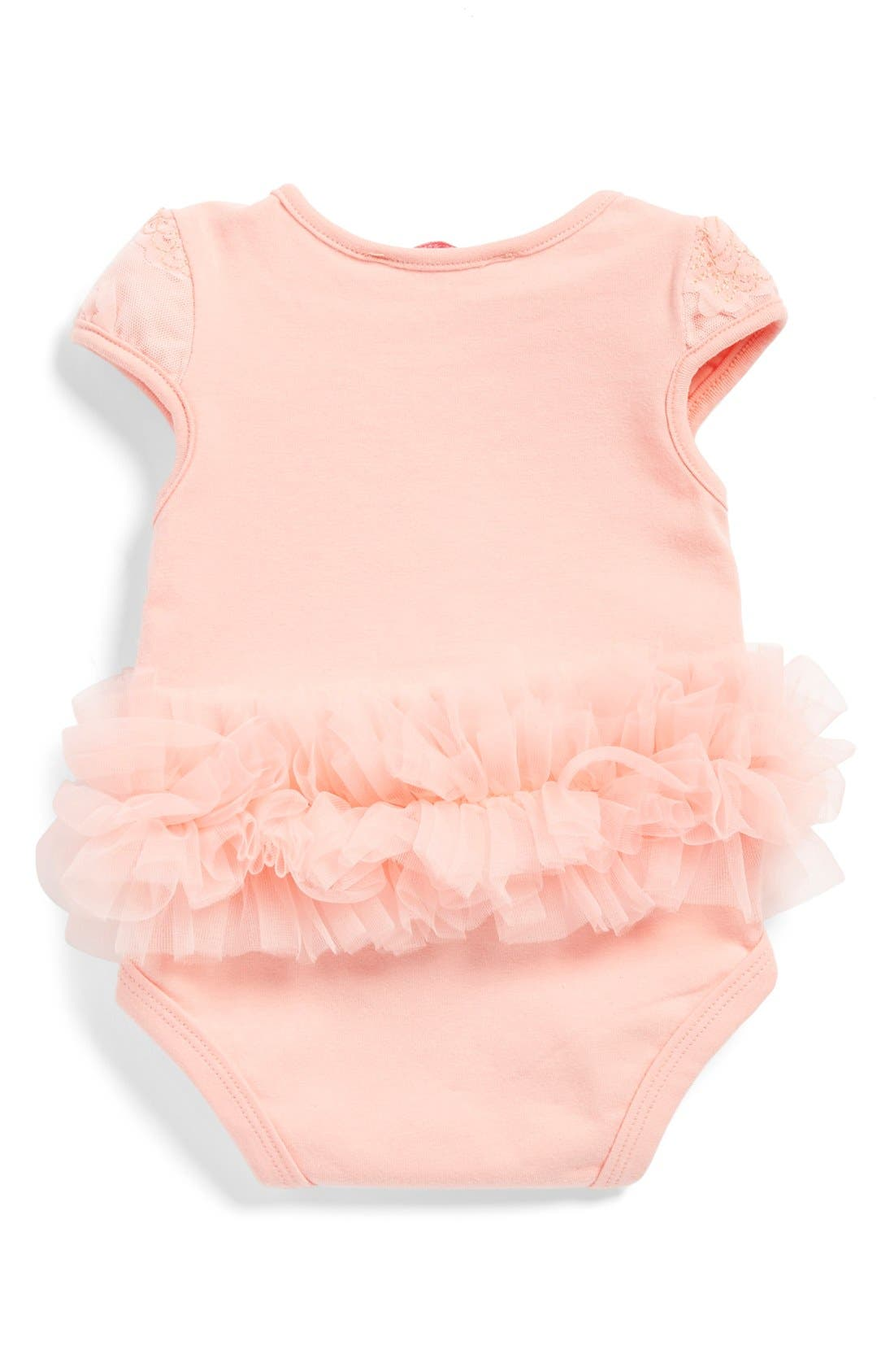 POPATU, Flower Tutu Bodysuit, Alternate thumbnail 2, color, PEACH