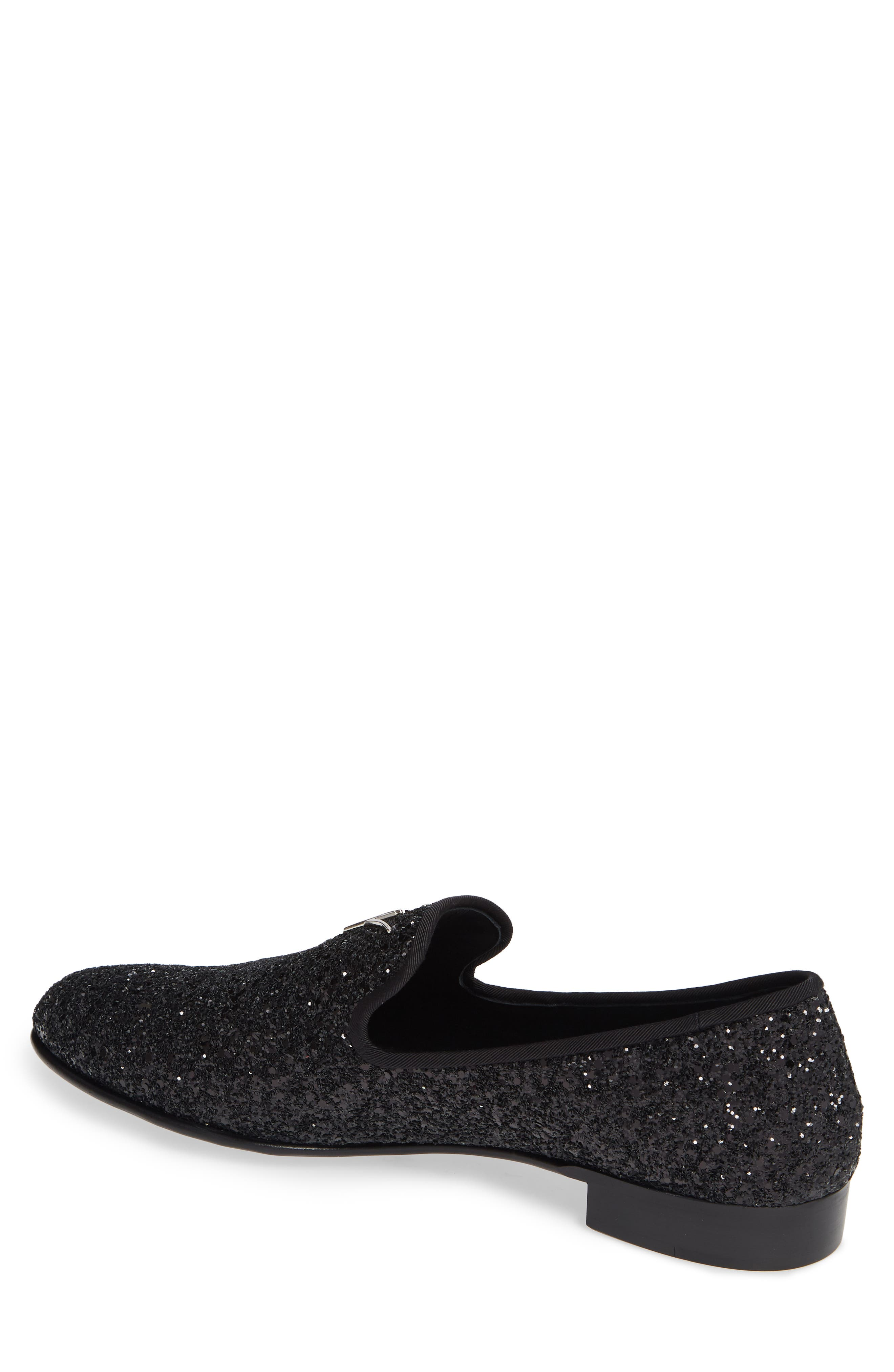 GIUSEPPE ZANOTTI, Glitter Encrusted Smoking Slipper, Alternate thumbnail 2, color, BLACK