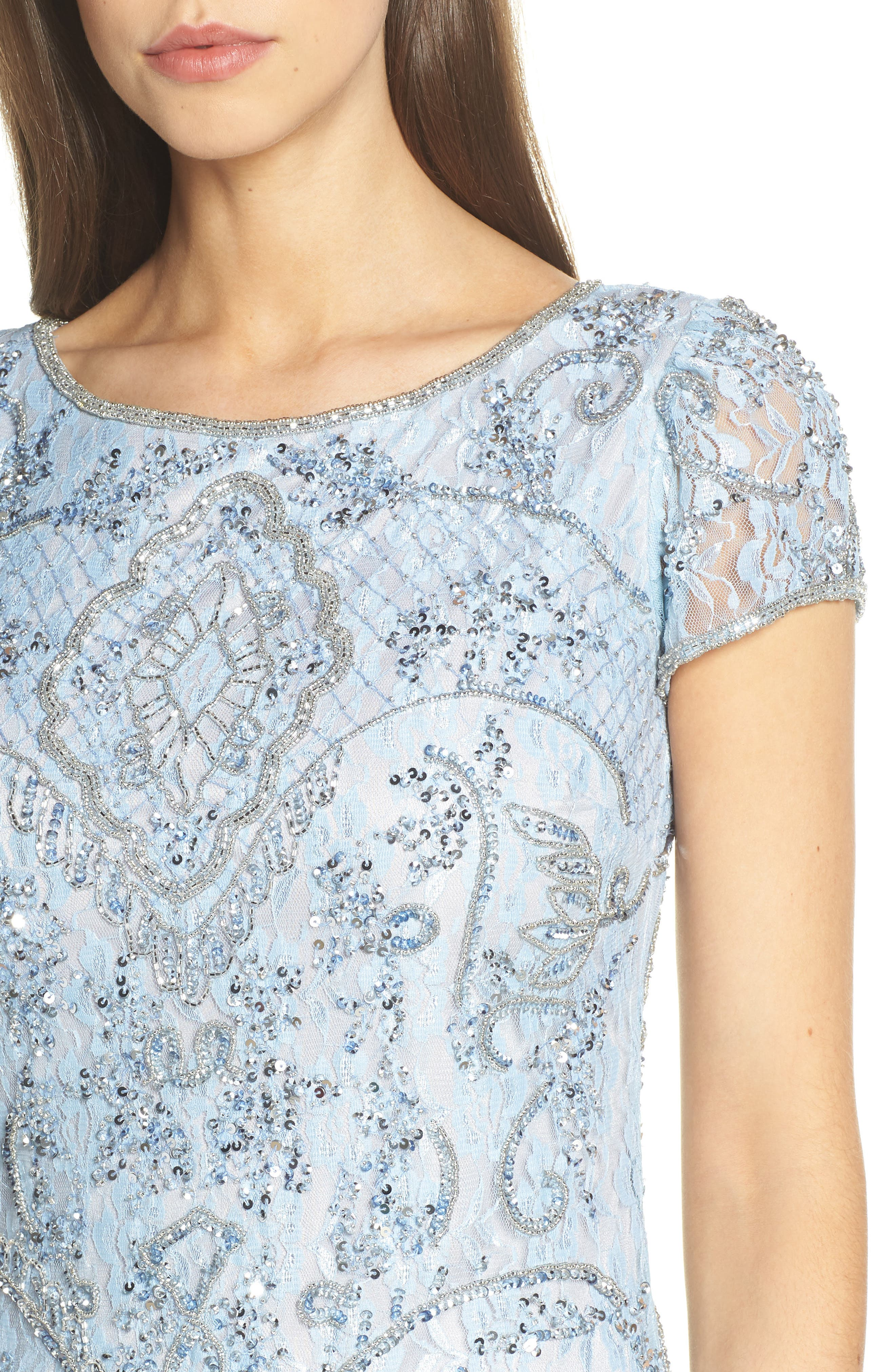 PISARRO NIGHTS, Embellished Lace Gown, Alternate thumbnail 5, color, SKY BLUE