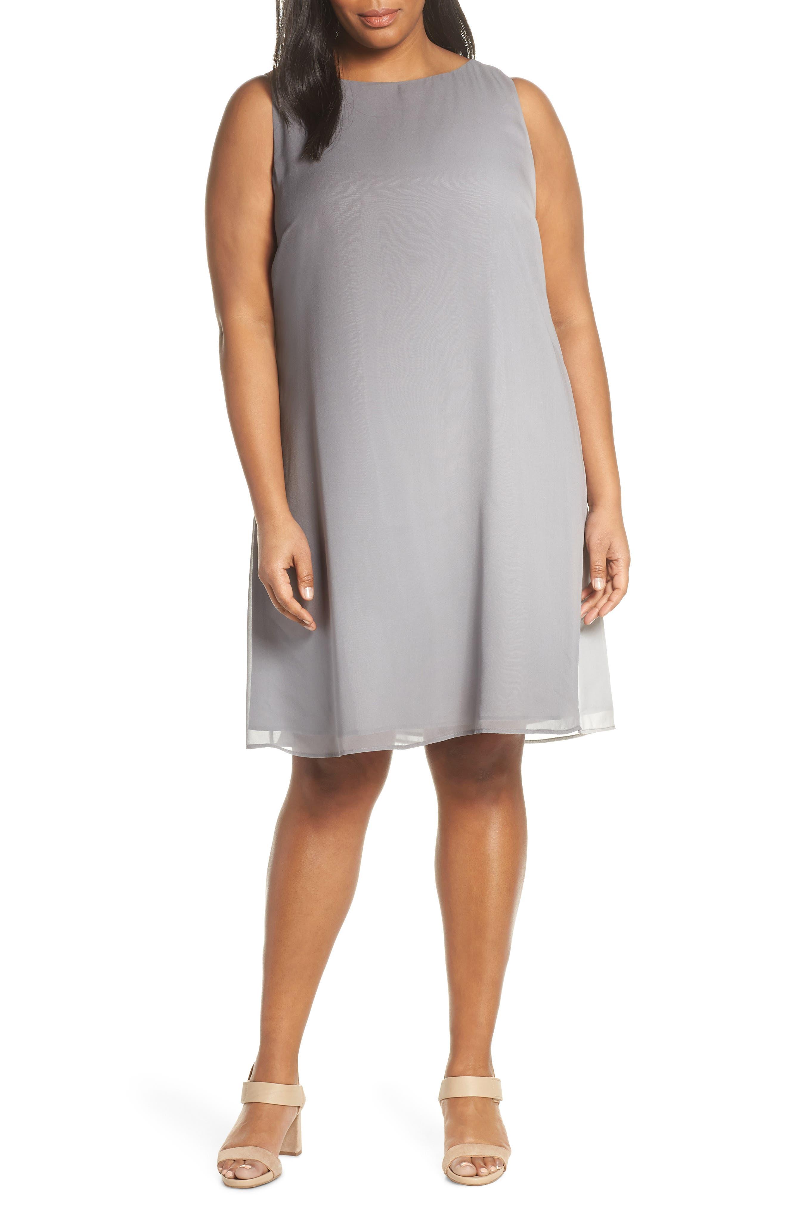 Plus Size Eileen Fisher Bateau Neck Silk Dress, Grey