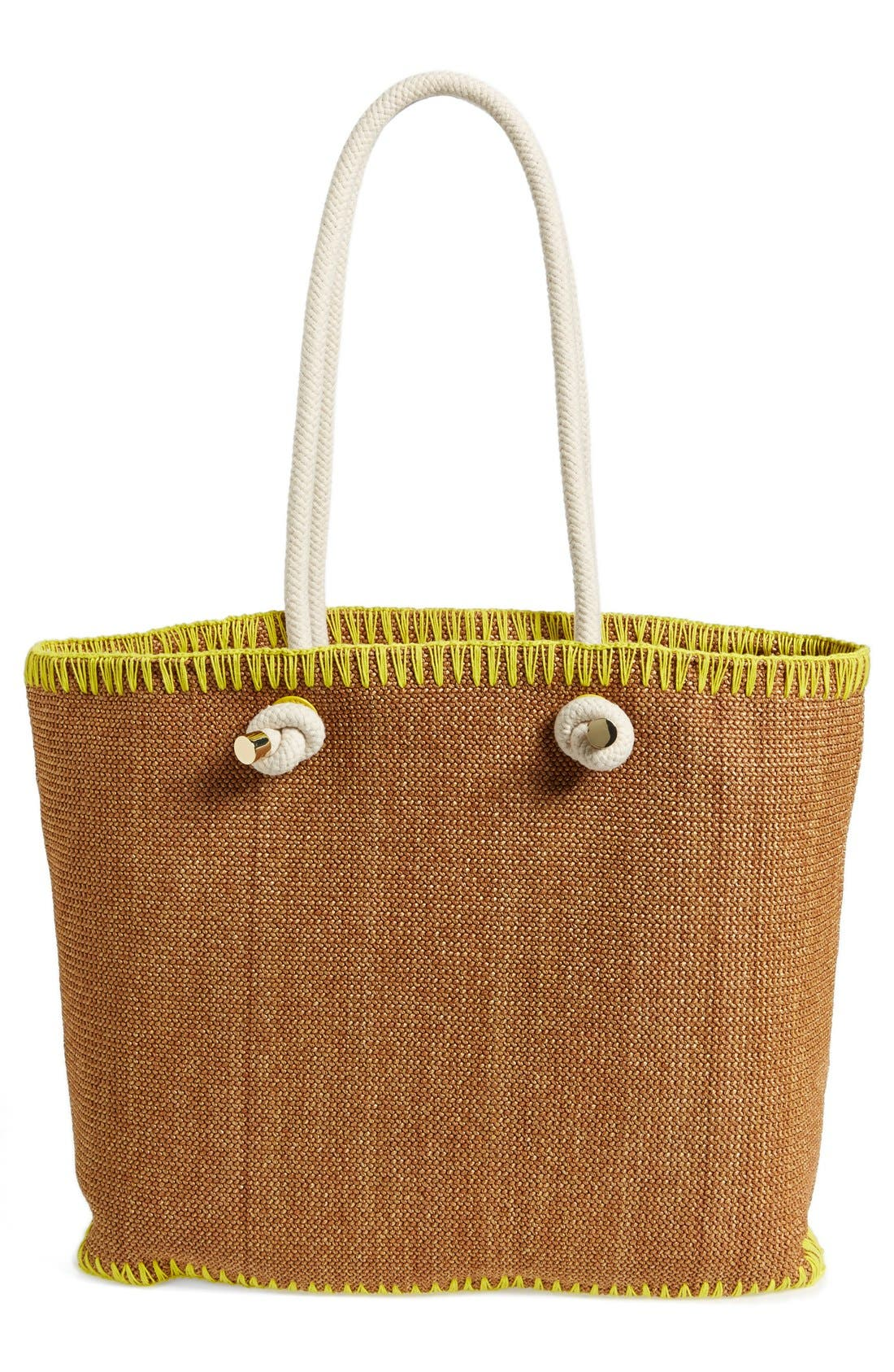 TORY BURCH, 'Pineapple' Woven Tote, Alternate thumbnail 3, color, 200