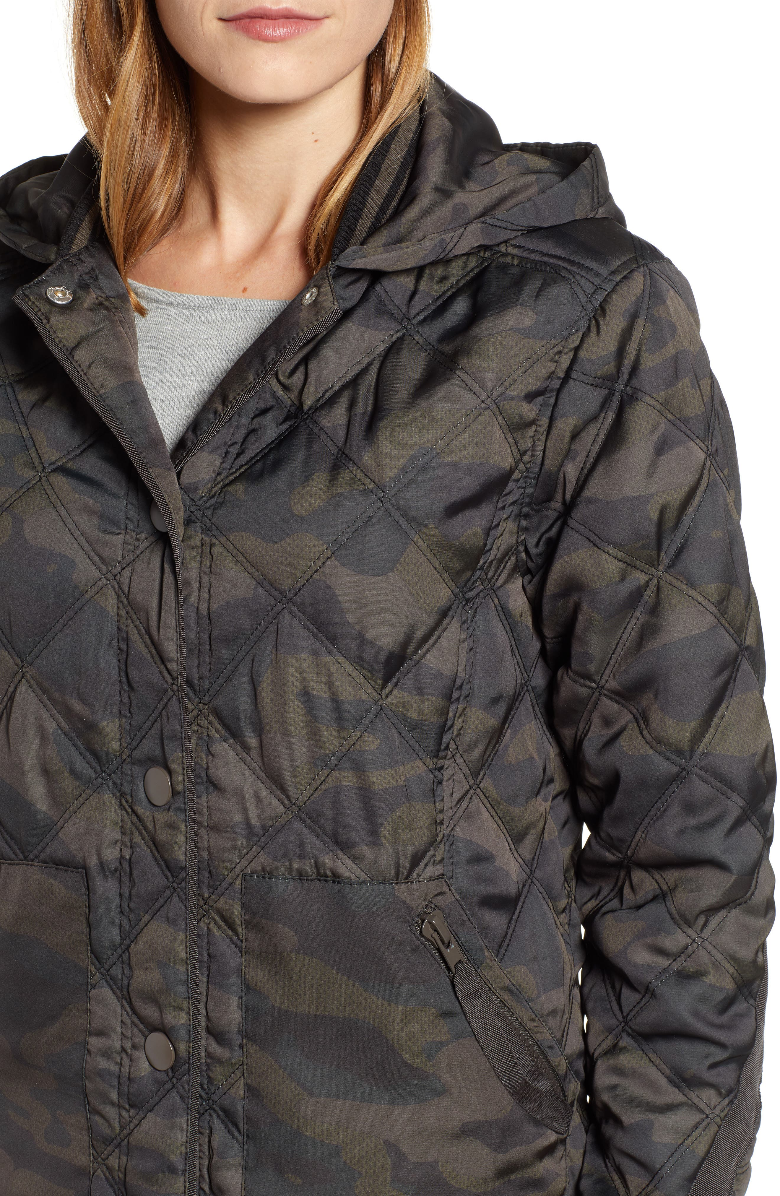 WIT & WISDOM, Lightweight Quilted Jacket, Alternate thumbnail 4, color, OLIVE
