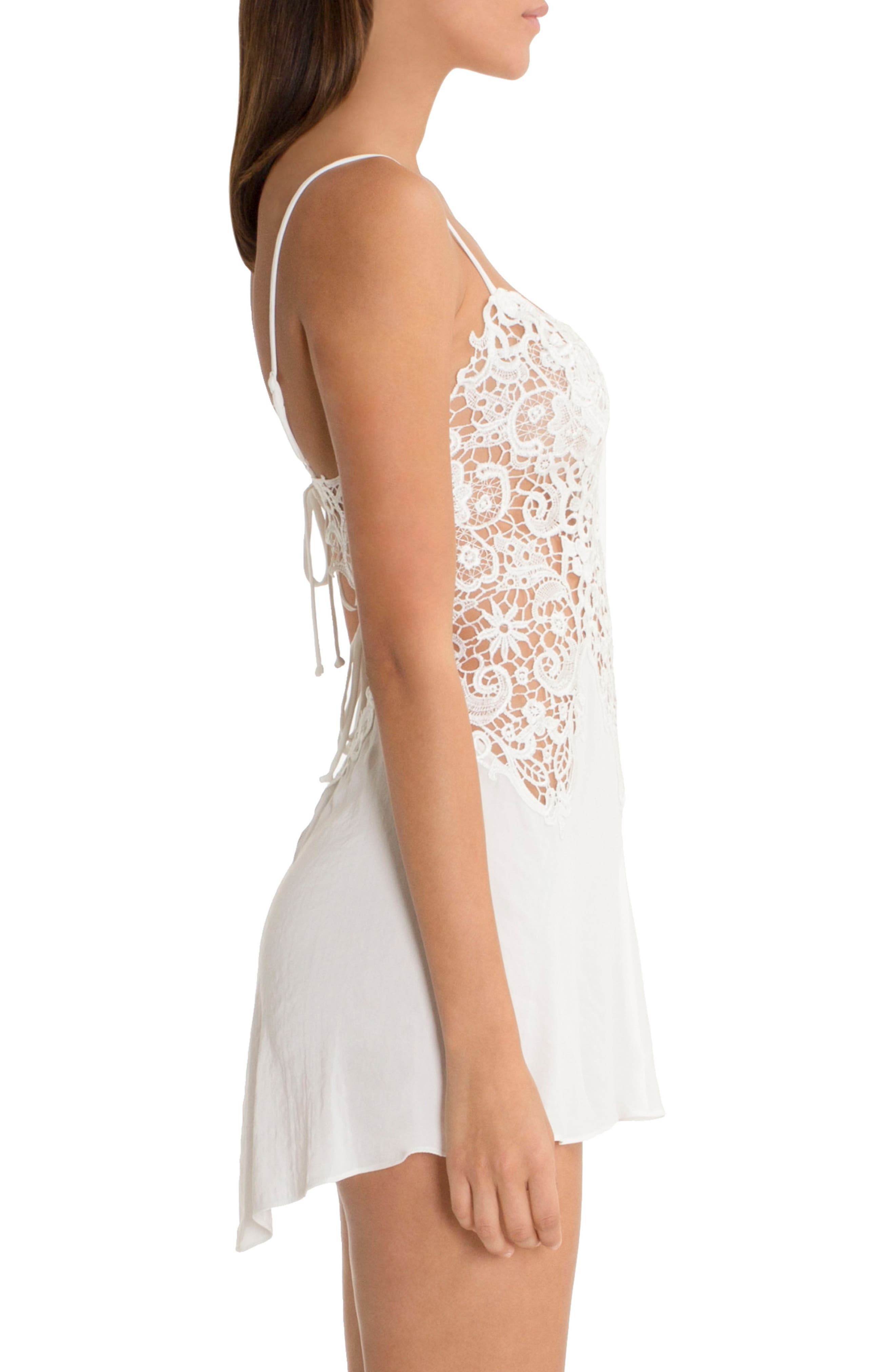IN BLOOM BY JONQUIL, Lace & Satin Chemise, Alternate thumbnail 3, color, IVORY