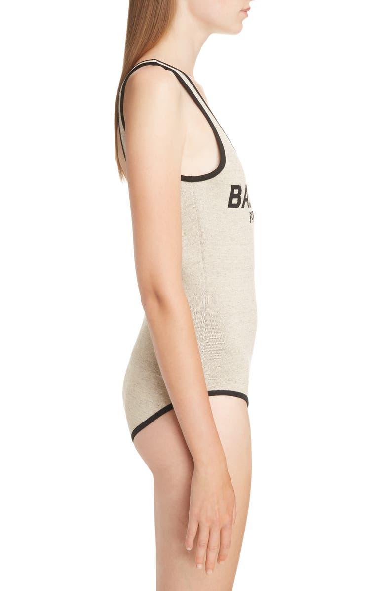 Balmain Scoop Neck Logo Bodysuit In Gba Beig