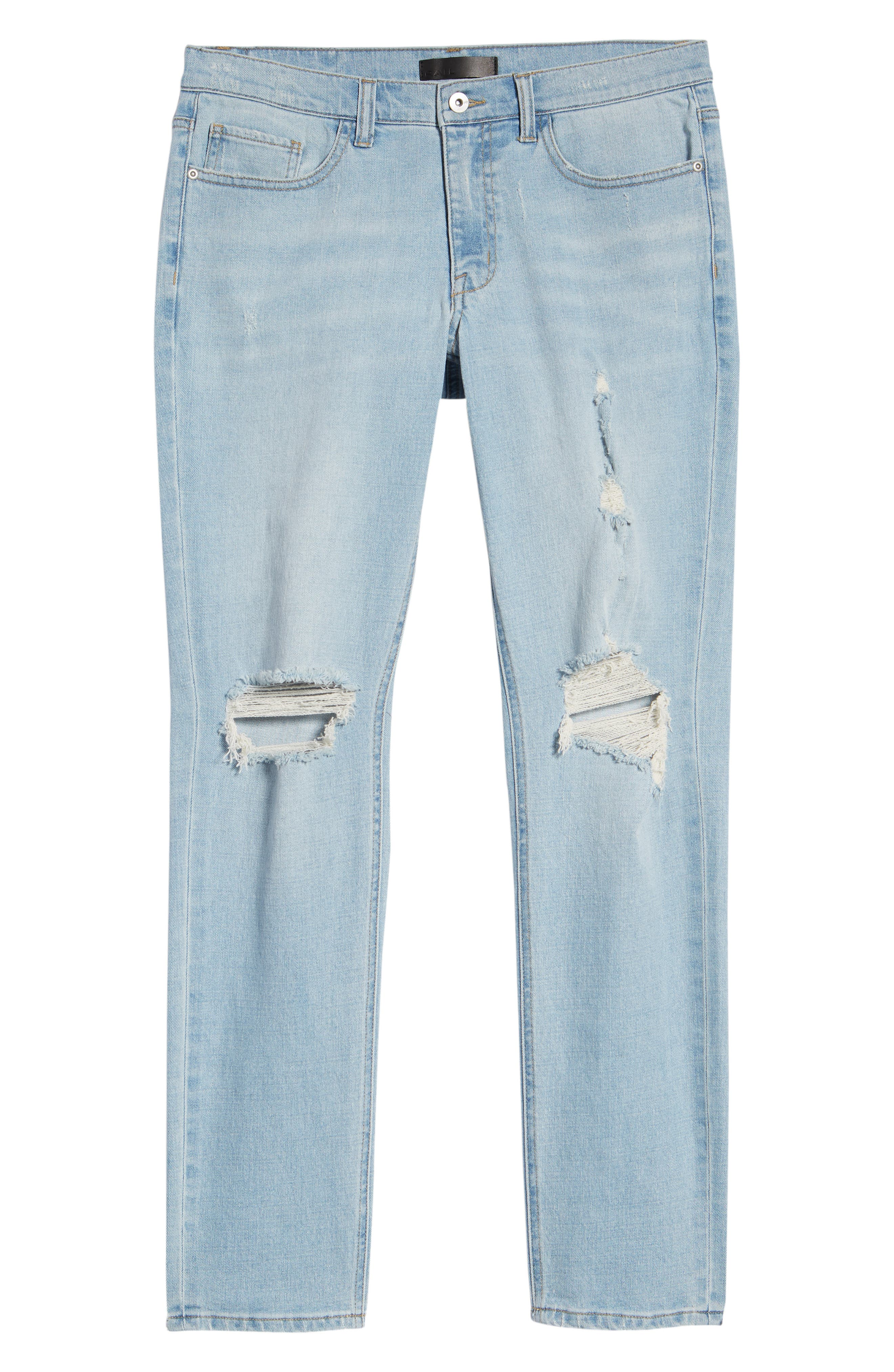 THE RAIL, Ripped Skinny Jeans, Alternate thumbnail 7, color, BLUE CORGAN WASH