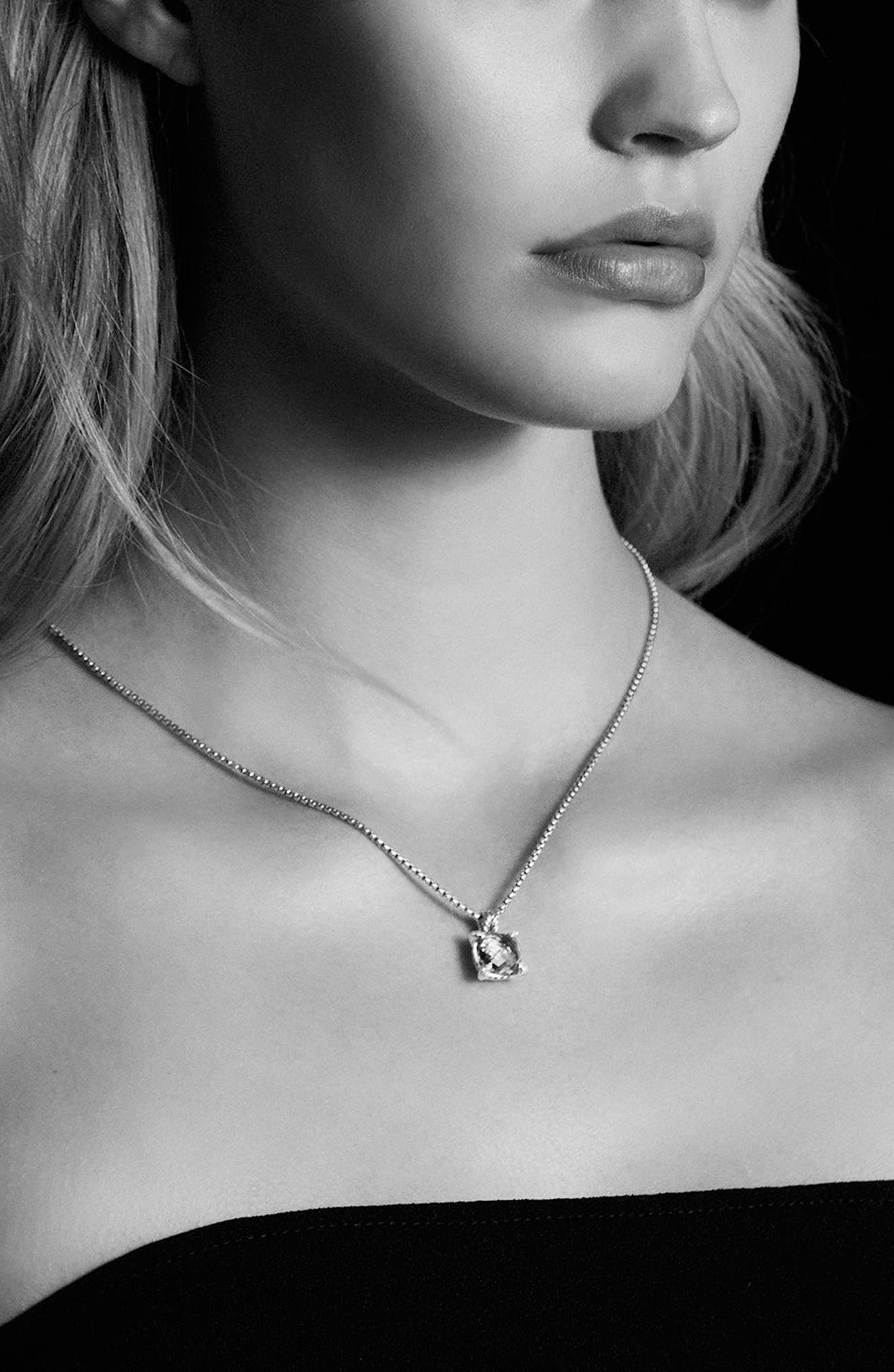 DAVID YURMAN, 'Châtelaine' Pendant Necklace with Semiprecious Stone & Diamonds, Alternate thumbnail 2, color, SILVER/ CITRINE/ HEMATINE