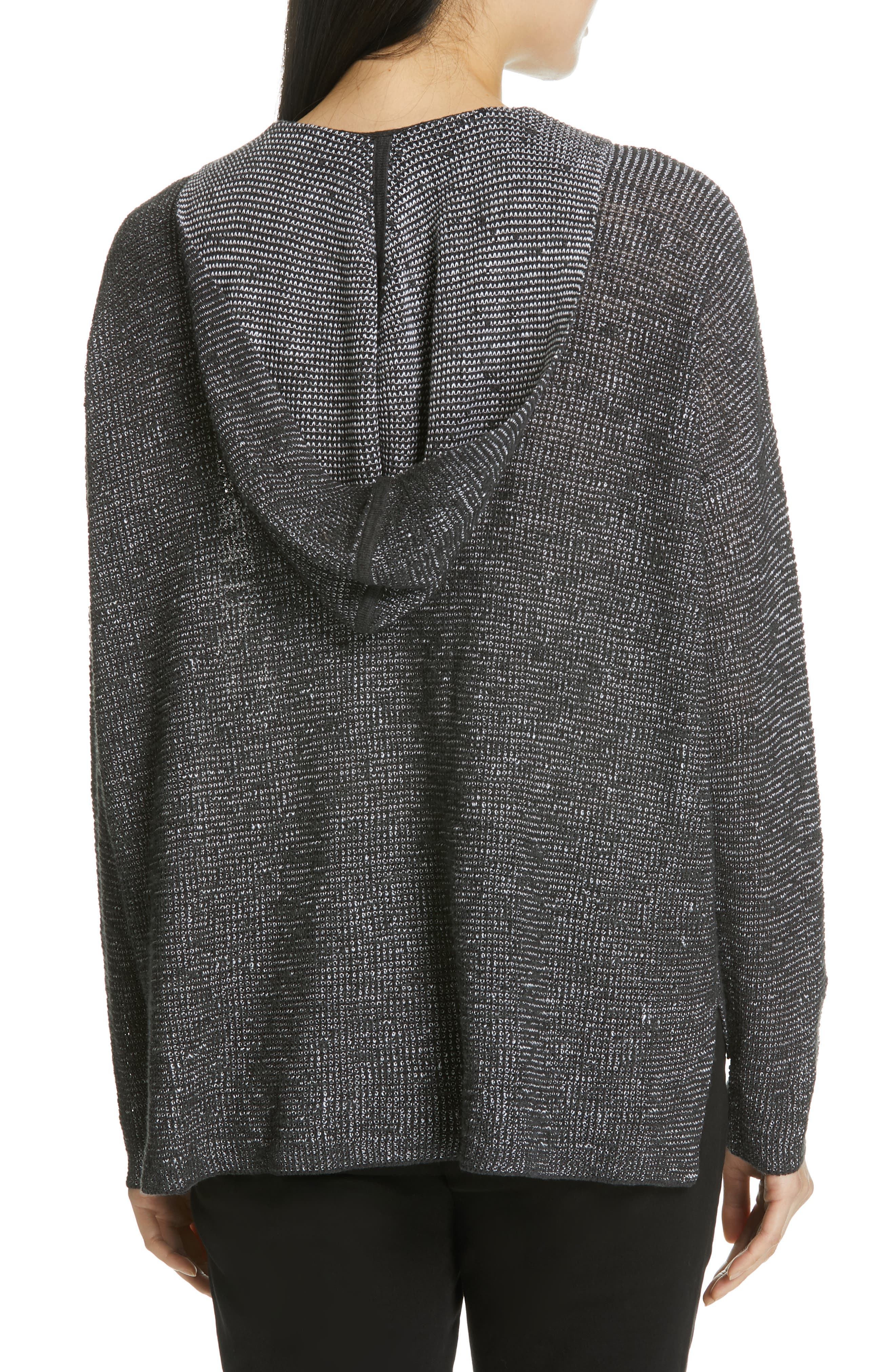 EILEEN FISHER, Organic Linen & Cotton Boxy Hooded Top, Alternate thumbnail 2, color, CHARCOAL