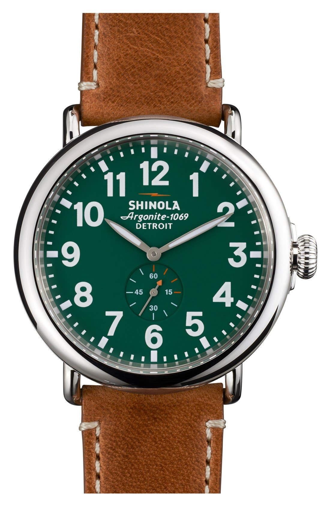 SHINOLA 'The Runwell' Leather Strap Watch, 47mm, Main, color, BROWN/ GREEN