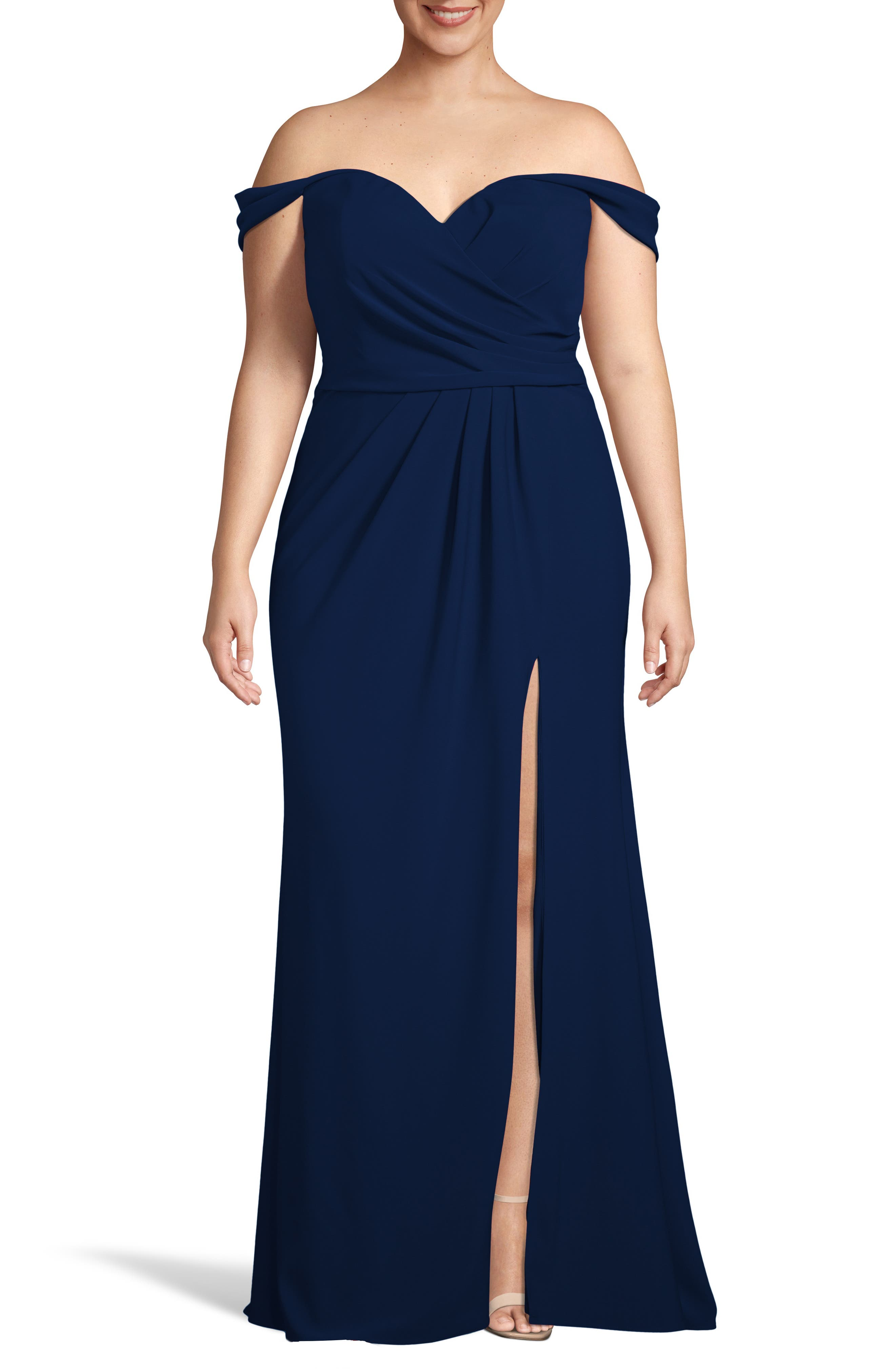 Plus Size Xscape Off The Shoulder Crepe Evening Dress