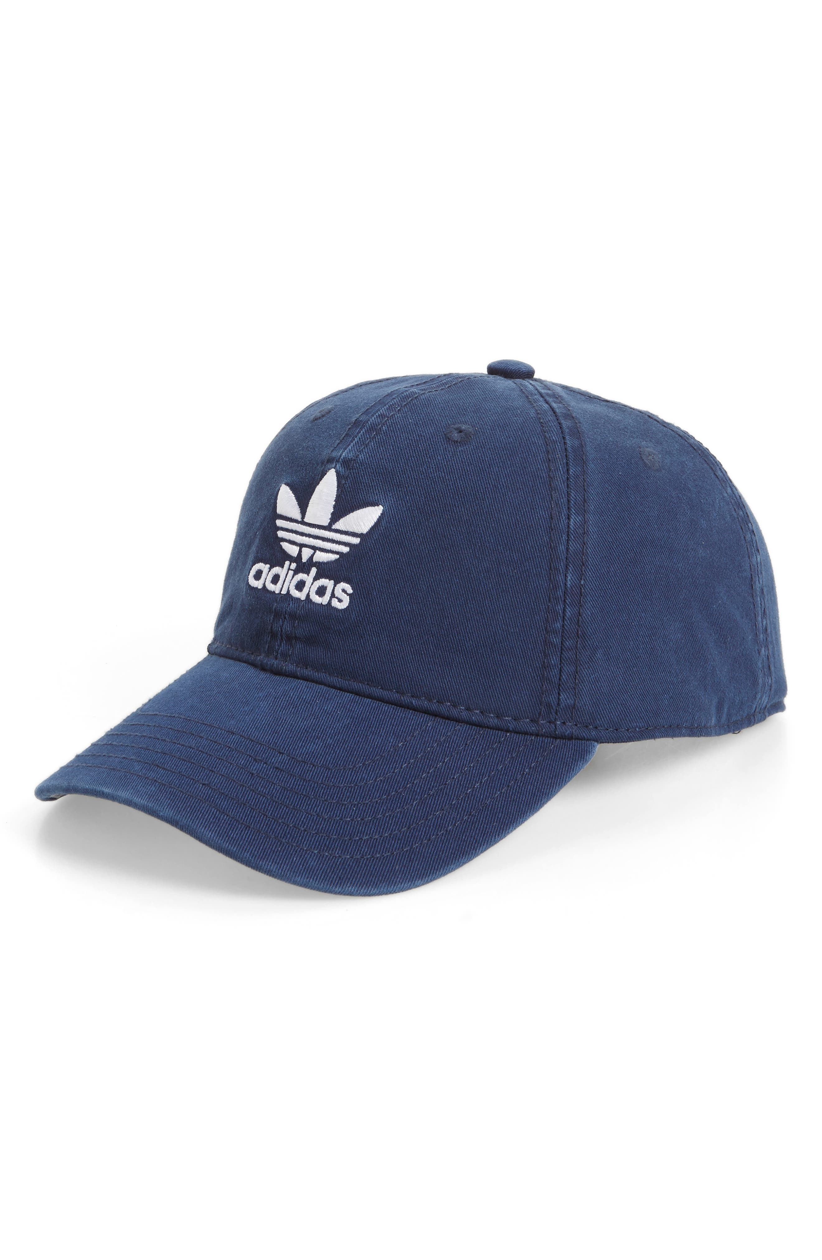 ADIDAS ORIGINALS, Relaxed Baseball Cap, Main thumbnail 1, color, NAVY