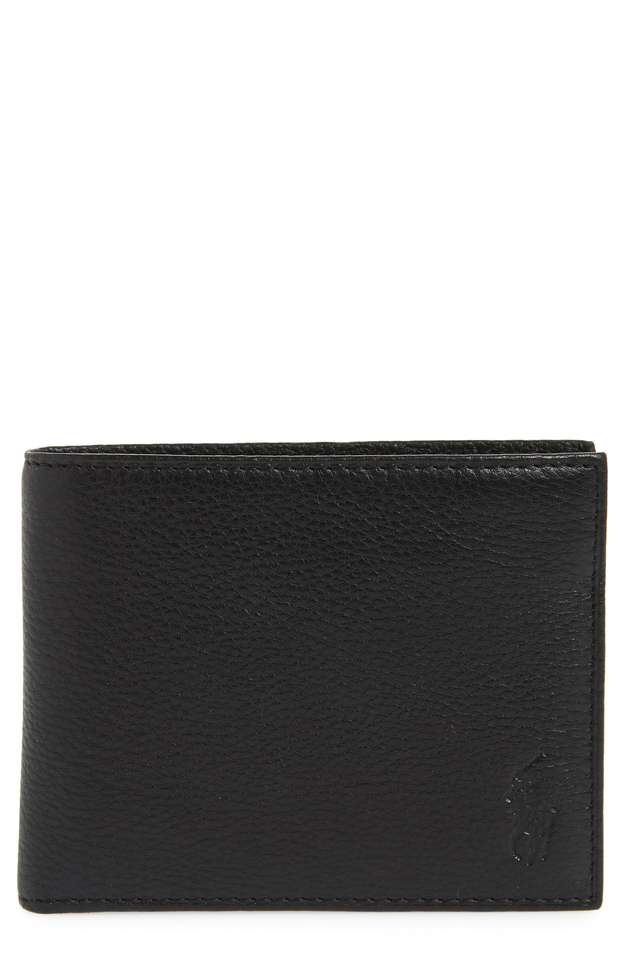 POLO RALPH LAUREN, Leather Passcase Wallet, Main thumbnail 1, color, BLACK