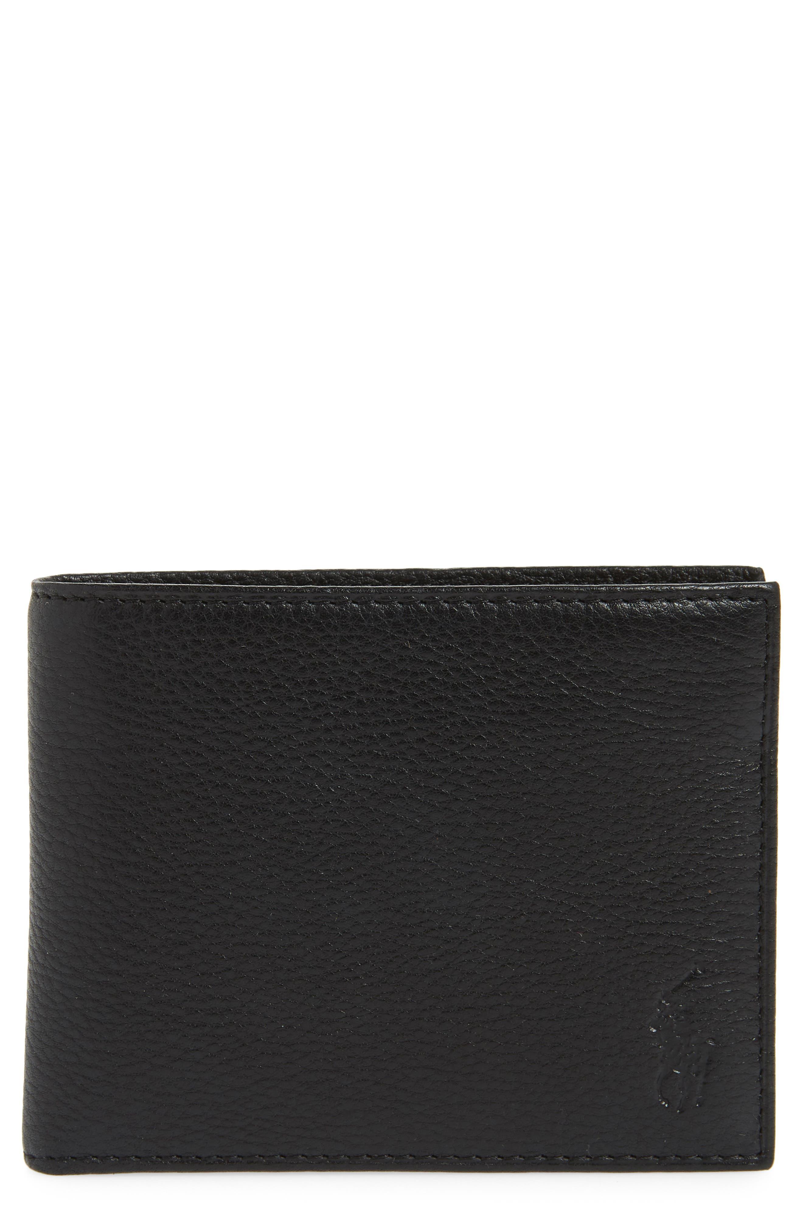 POLO RALPH LAUREN Leather Passcase Wallet, Main, color, BLACK
