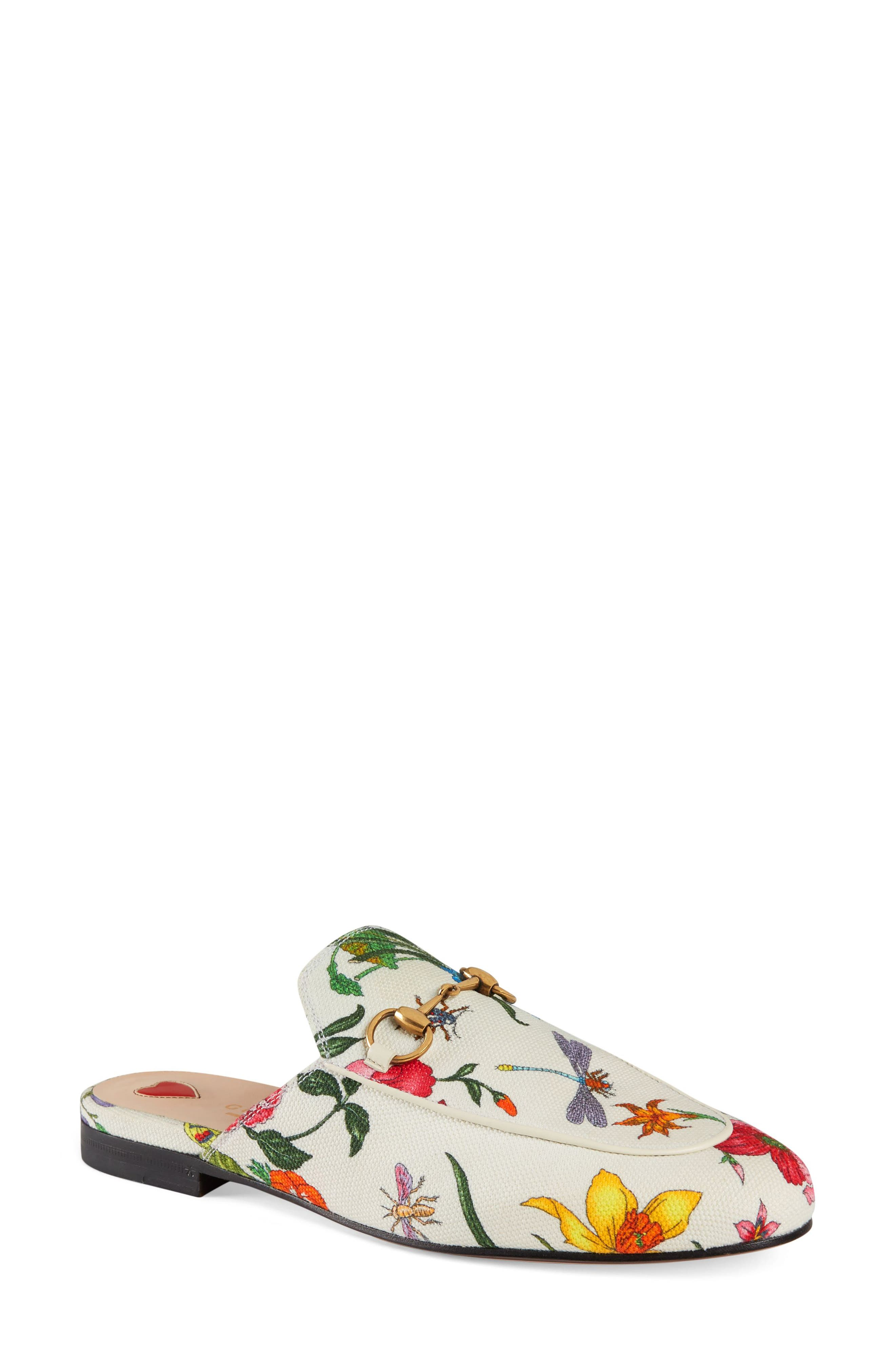 GUCCI, Princetown Loafer Mule, Main thumbnail 1, color, WHITE FLORAL