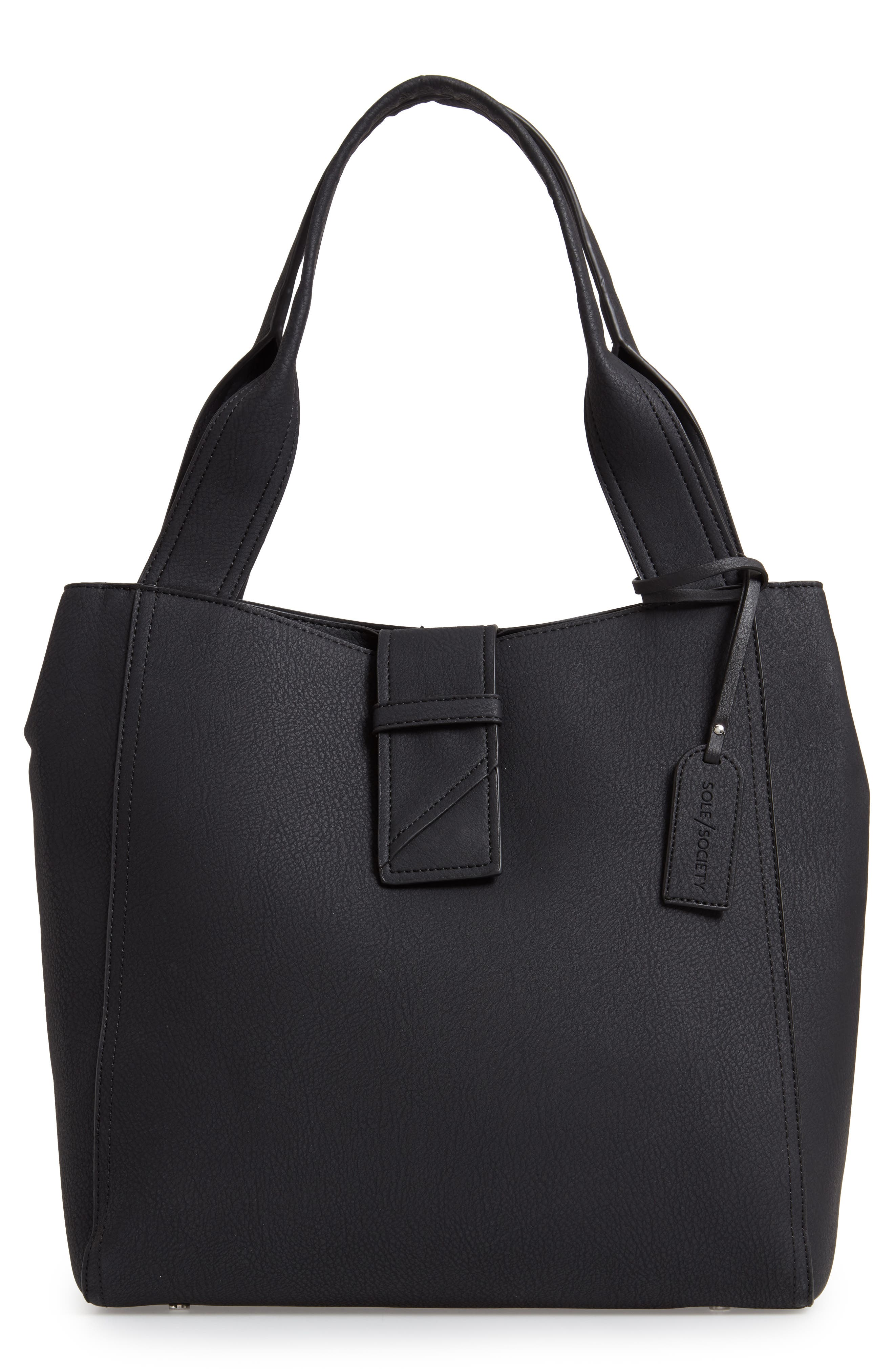 SOLE SOCIETY, Valah Faux Leather Tote, Main thumbnail 1, color, BLACK