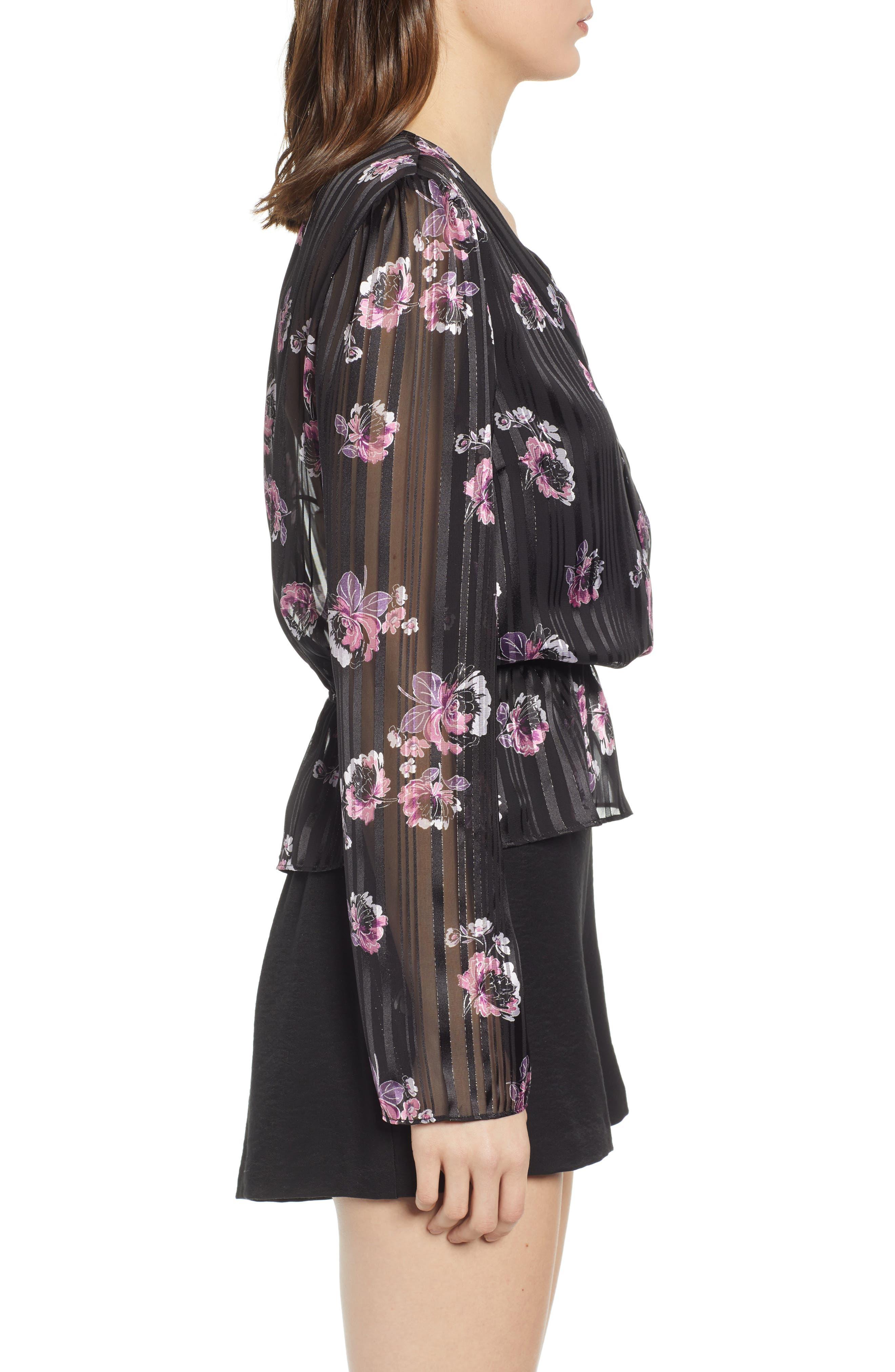 WAYF, Floral Print Peplum Top, Alternate thumbnail 3, color, BLACK FLORAL SHADOW STRIPE