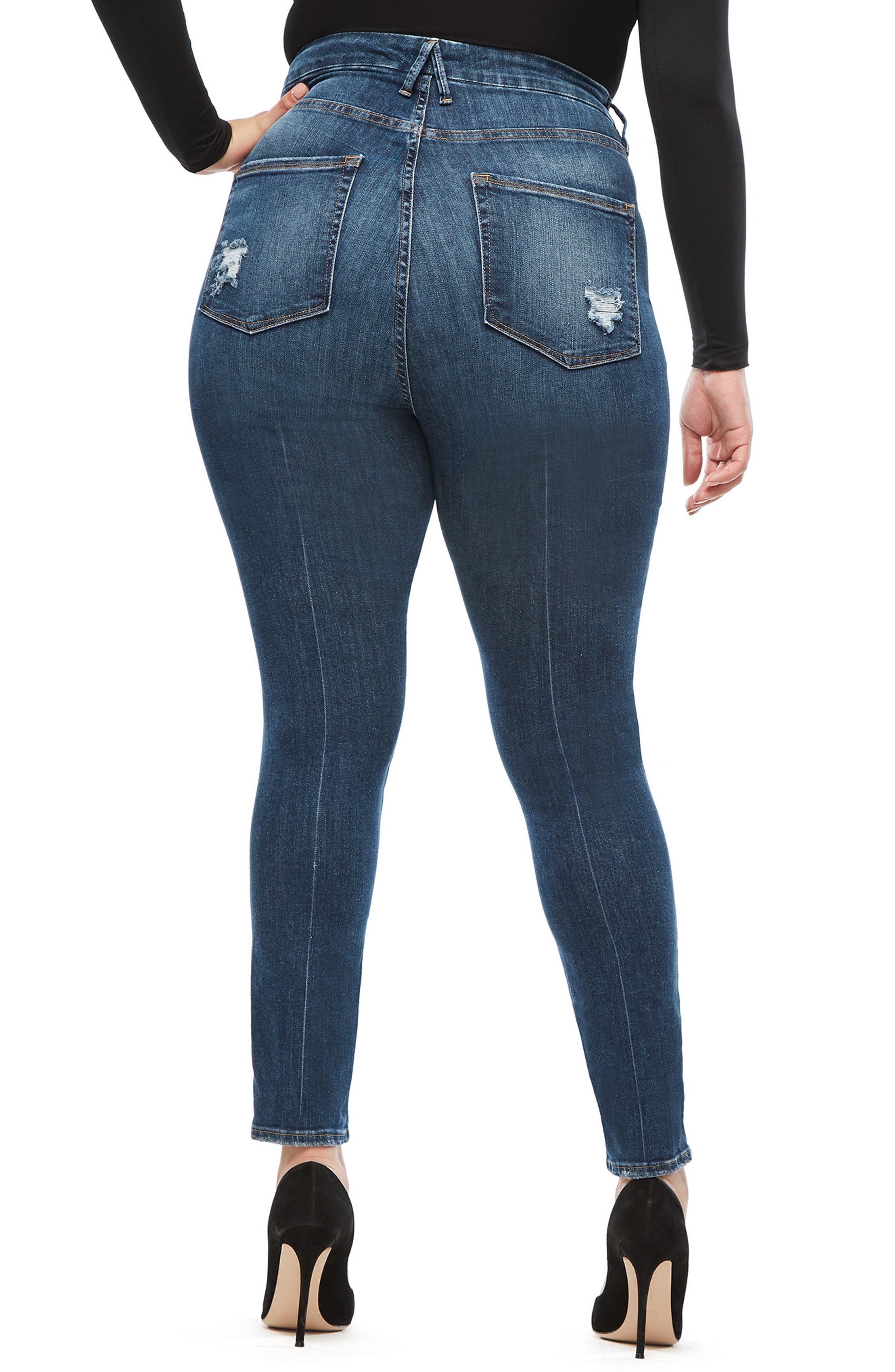 GOOD AMERICAN, Good Waist Ripped High Waist Skinny Jeans, Alternate thumbnail 7, color, BLUE 195