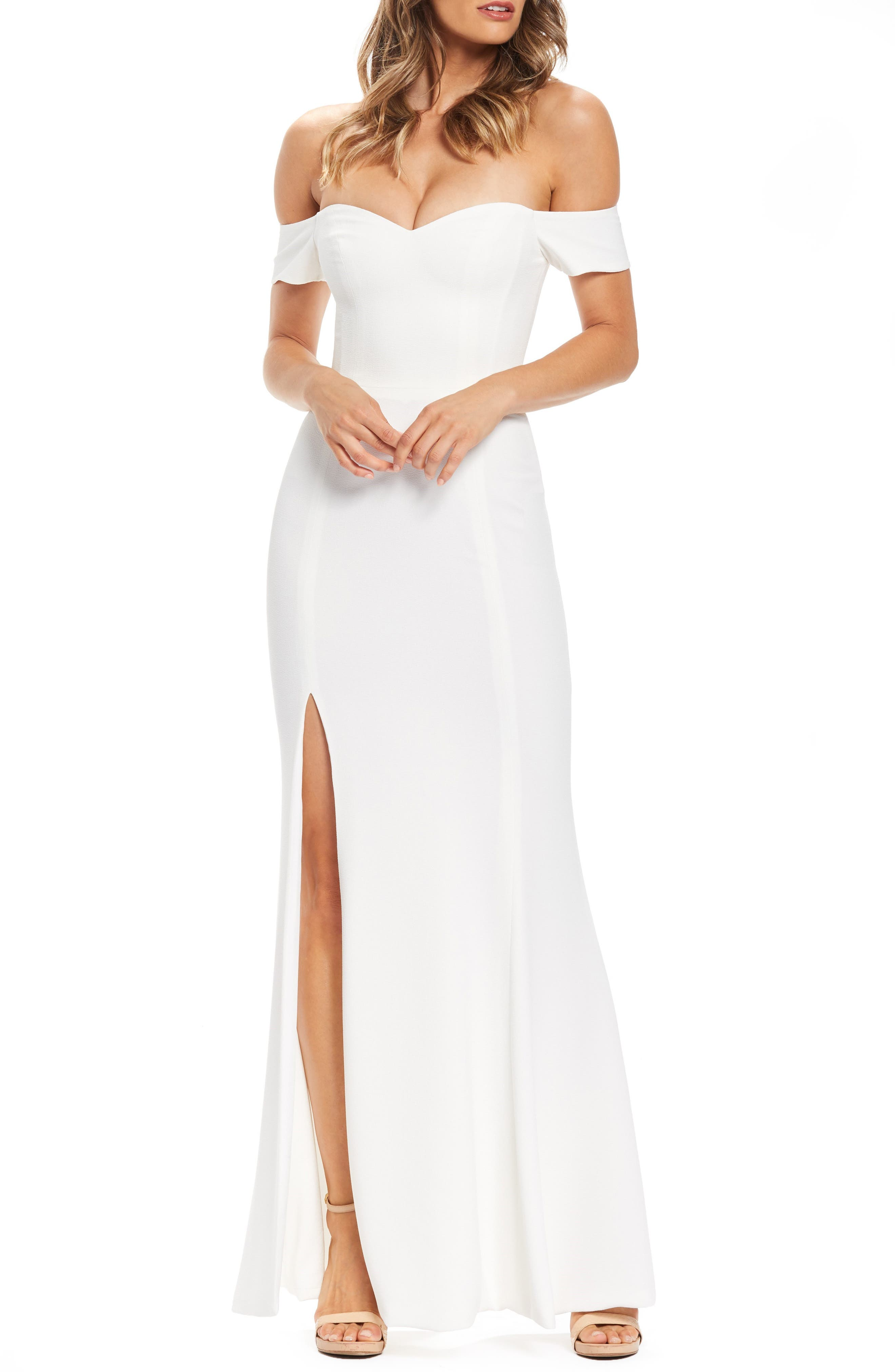 Dress The Population Logan Off The Shoulder Evening Dress, Ivory
