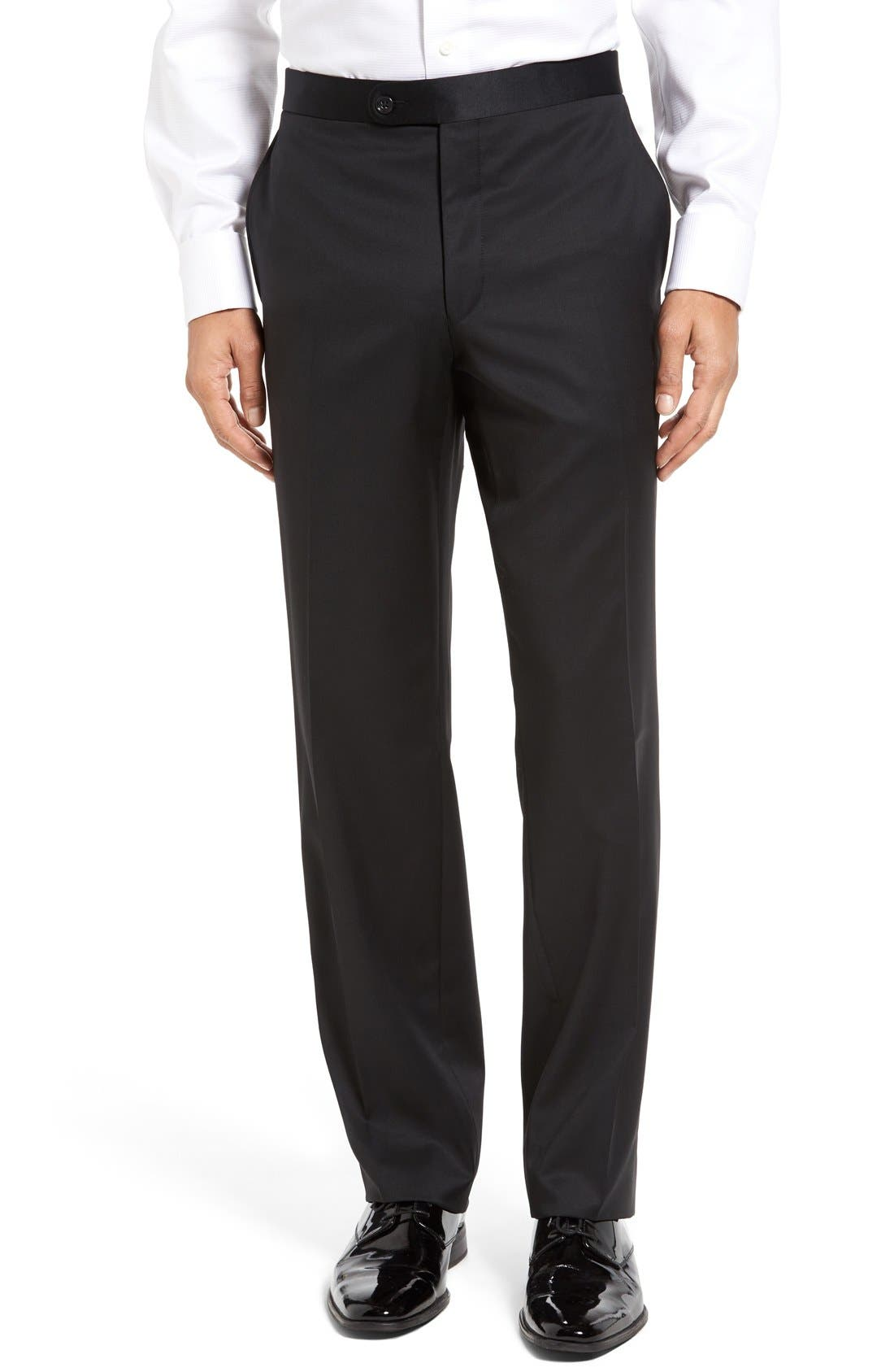 DAVID DONAHUE, Russell Classic Fit Loro Piana Wool Tuxedo, Alternate thumbnail 7, color, BLACK