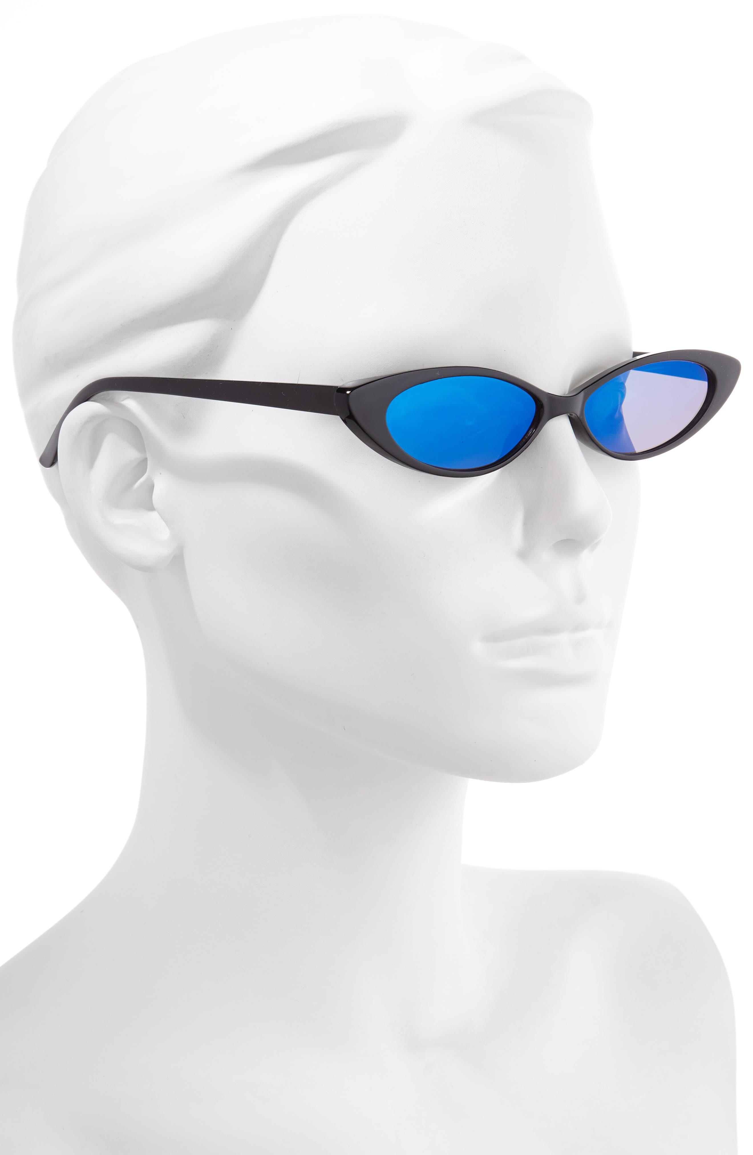 RAD + REFINED, Oval Sunglasses, Alternate thumbnail 2, color, BLACK/ BLUE