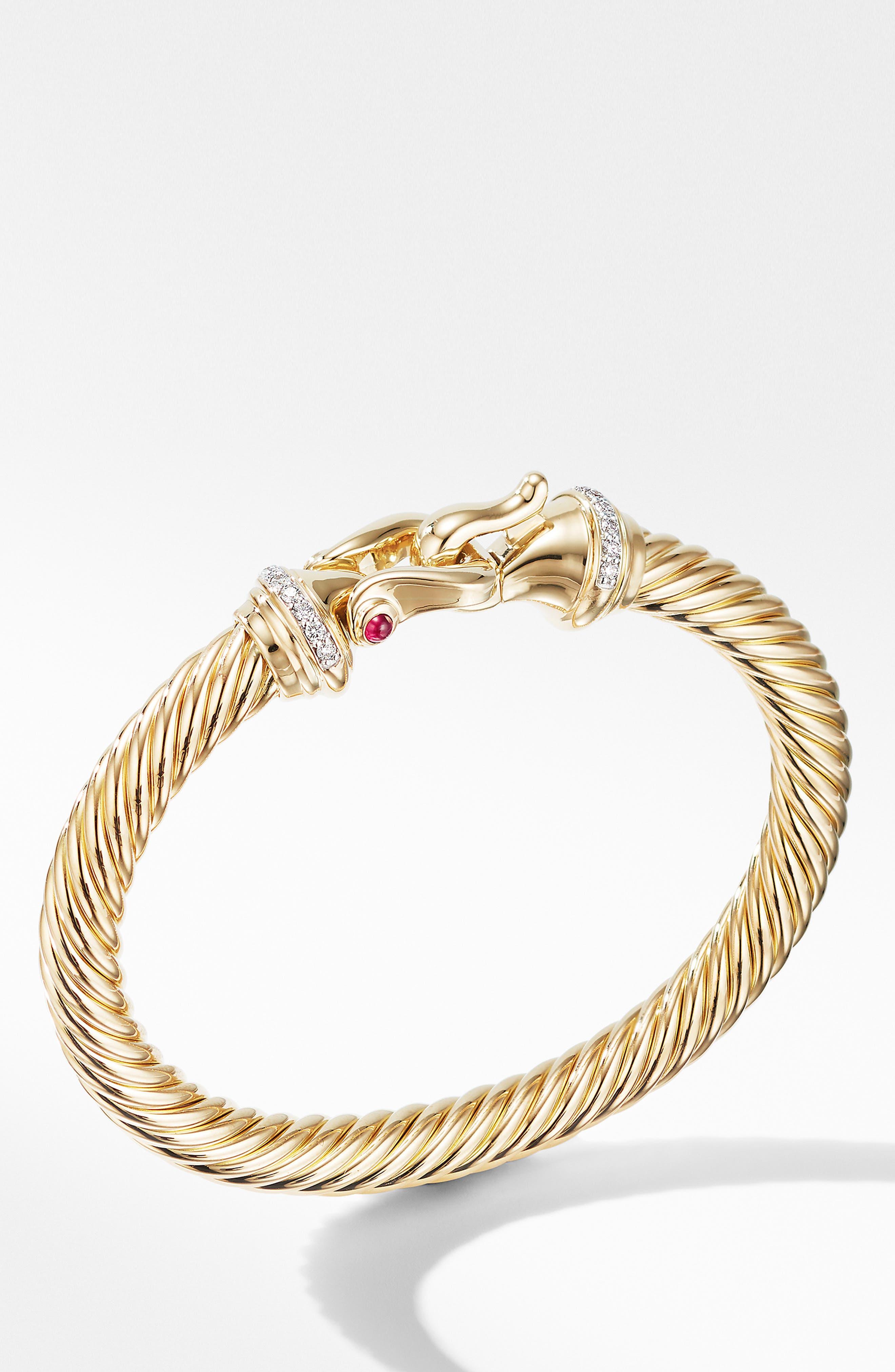 DAVID YURMAN, Cable Buckle Bracelet with Diamonds, Alternate thumbnail 2, color, GOLD/ RUBY/ DIAMOND