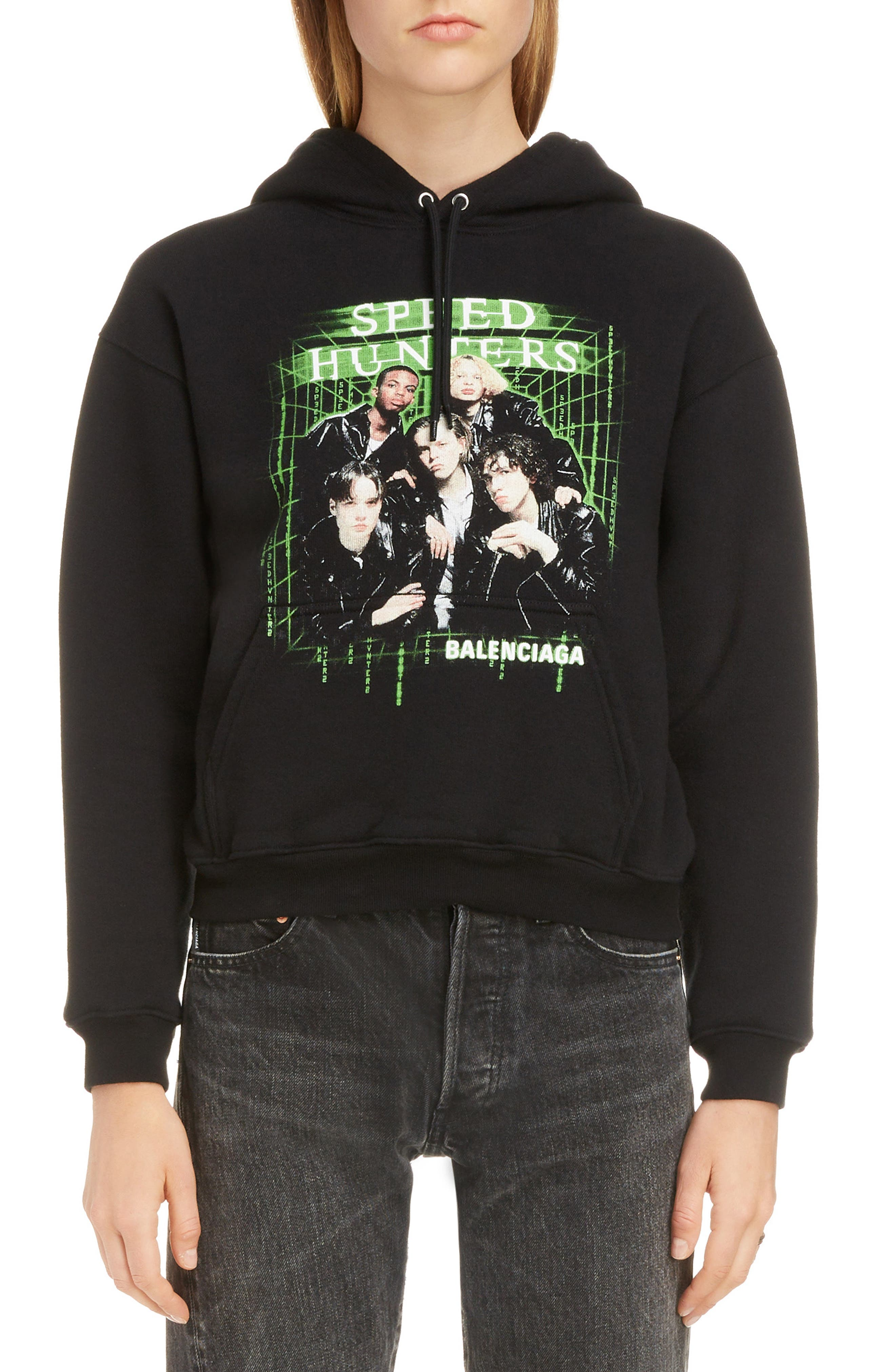 BALENCIAGA, Boy Band Print Hoodie, Main thumbnail 1, color, BLACK