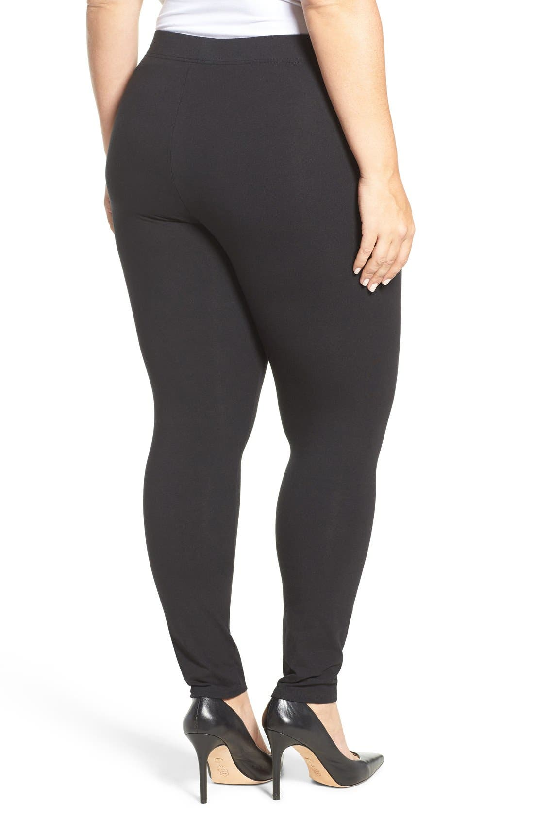 NORDSTROM, Go-To Leggings, Alternate thumbnail 2, color, 001