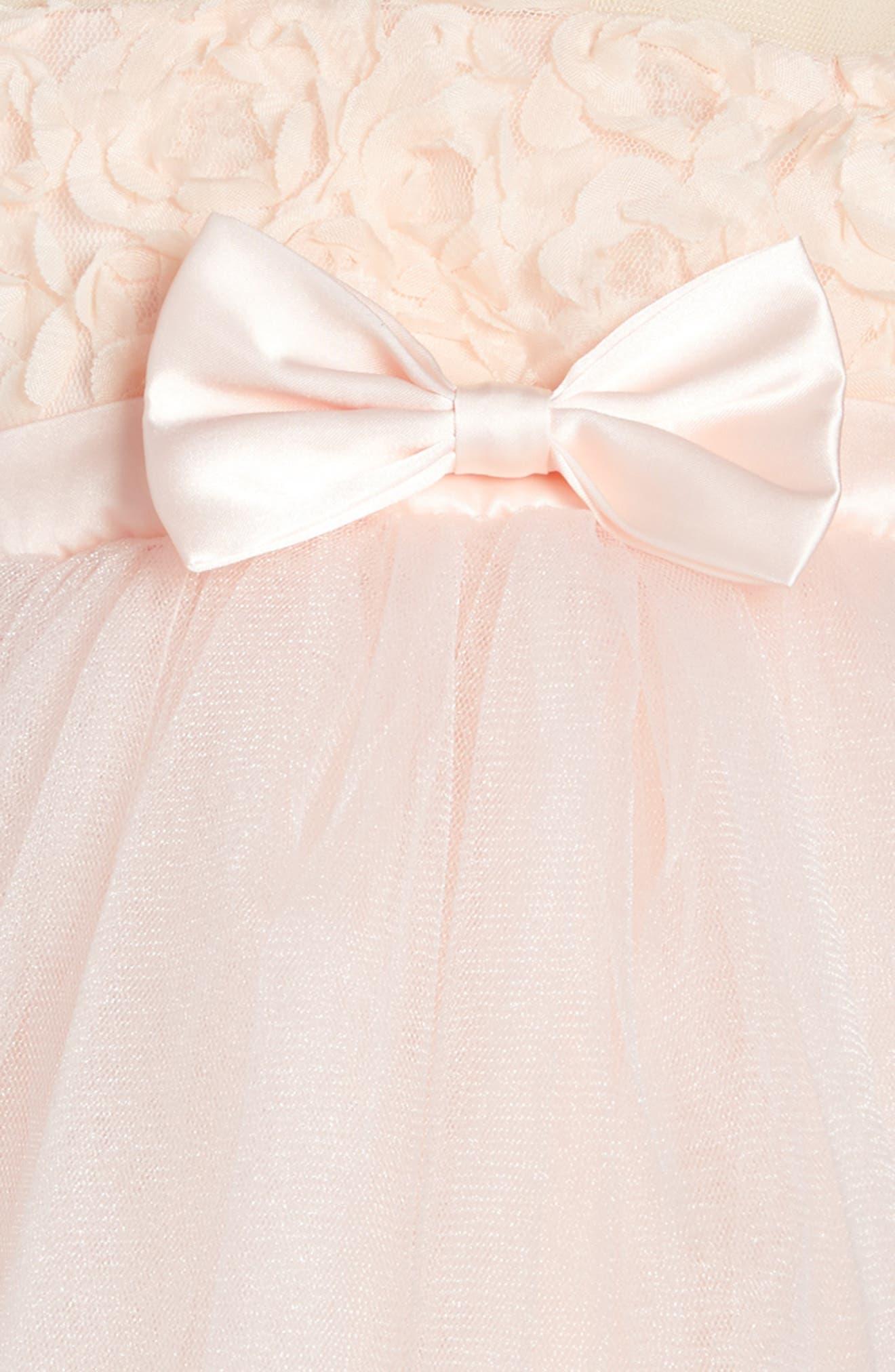 POPATU, Floral Tulle Dress, Alternate thumbnail 3, color, PINK