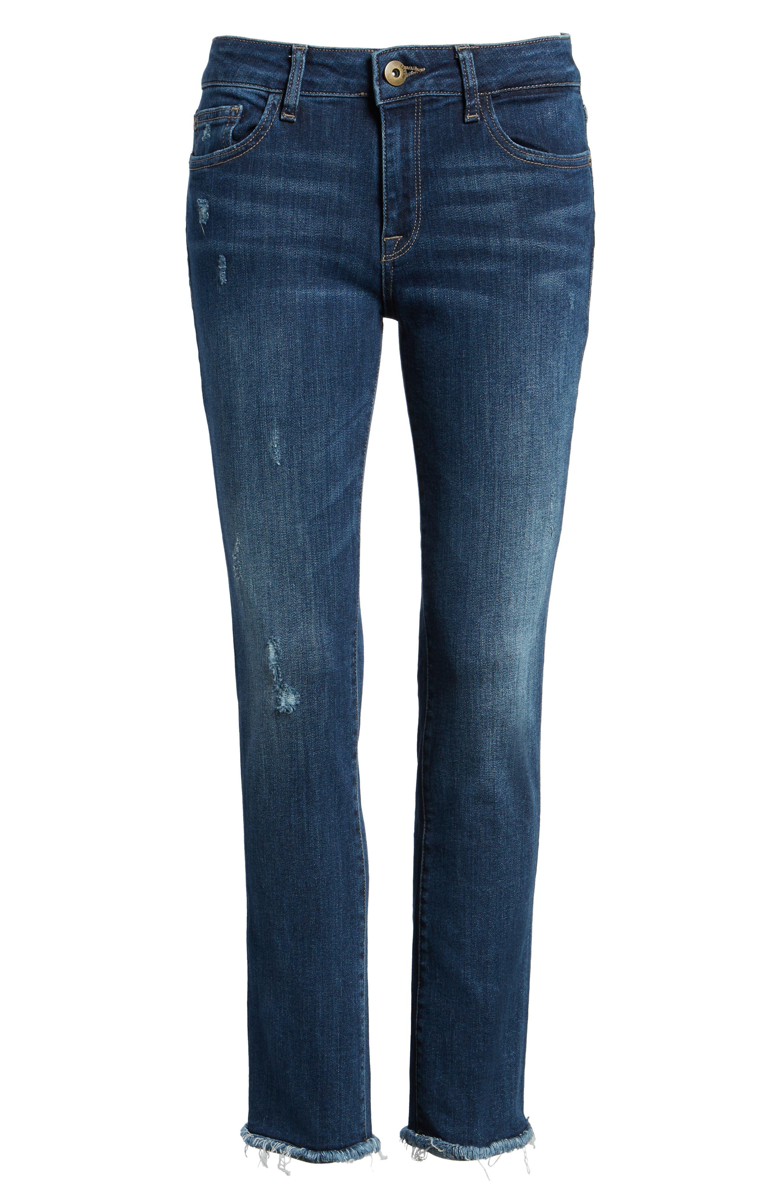 DL1961, Mara Ankle Straight Leg Jeans, Alternate thumbnail 7, color, RAVINE