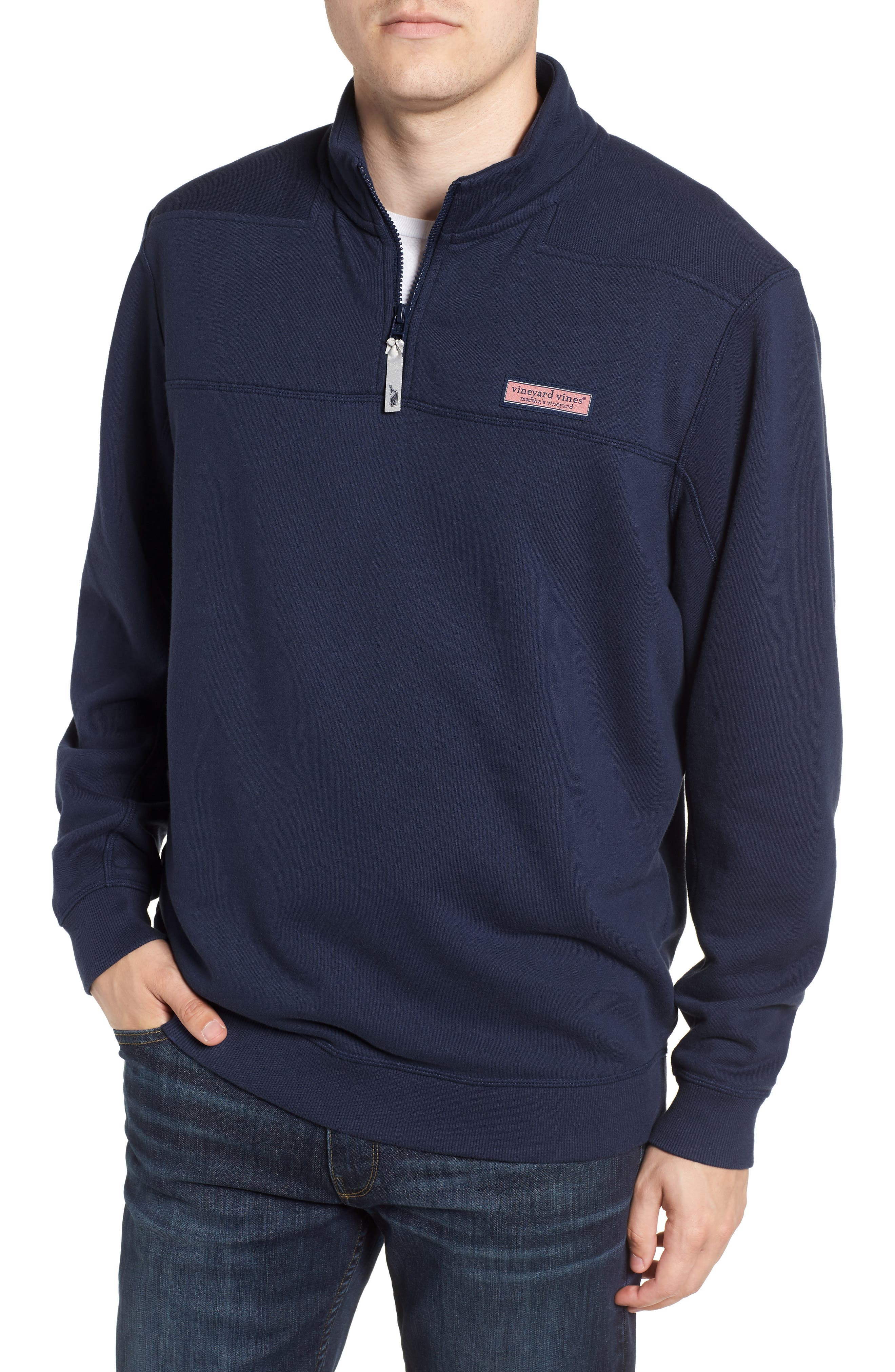 VINEYARD VINES, Collegiate Half Zip Pullover, Main thumbnail 1, color, VINEYARD NAVY