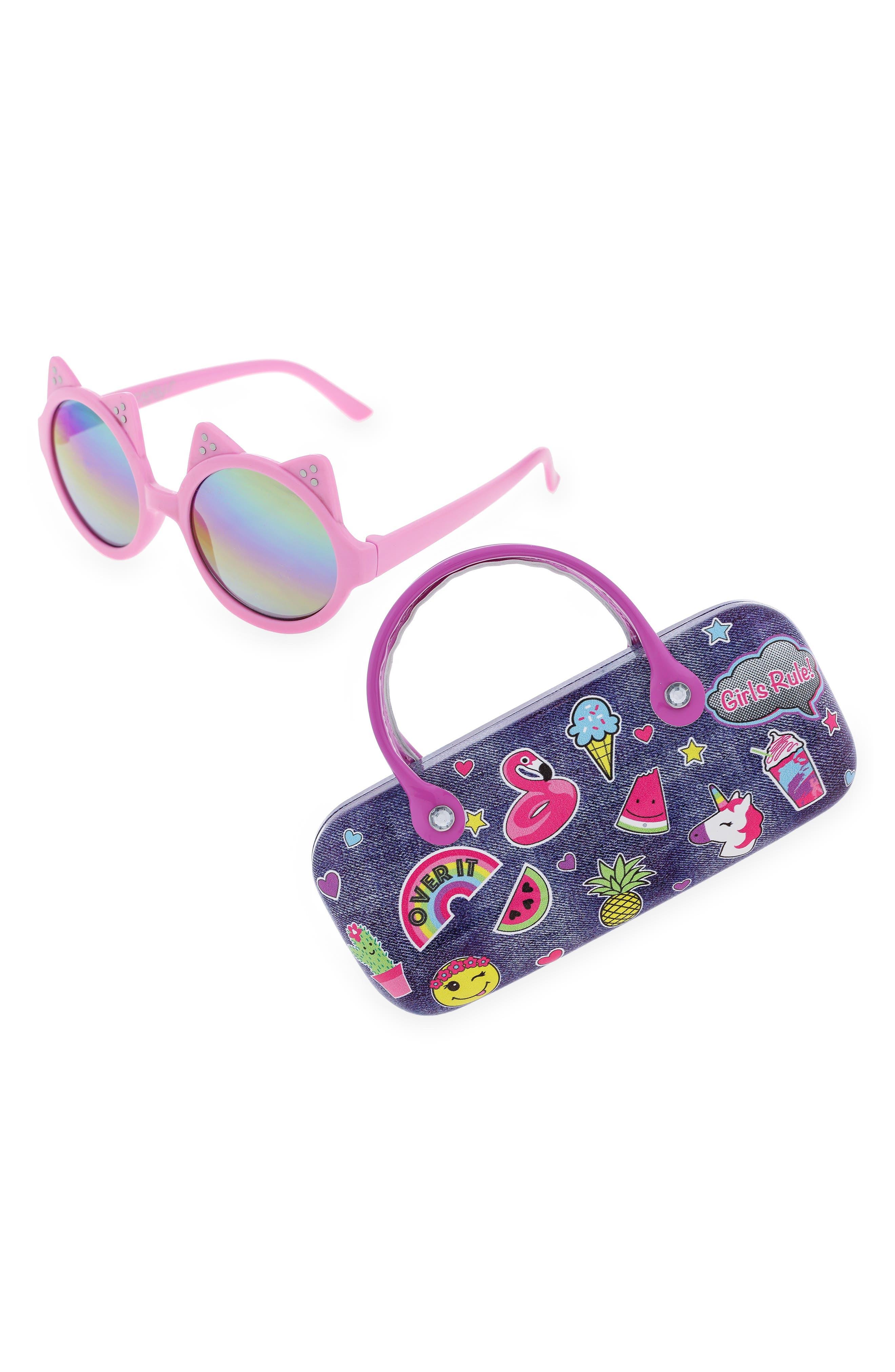 CAPELLI NEW YORK, Rainbow Lens Cat Ear Round Sunglasses, Alternate thumbnail 2, color, MULTI COMBO