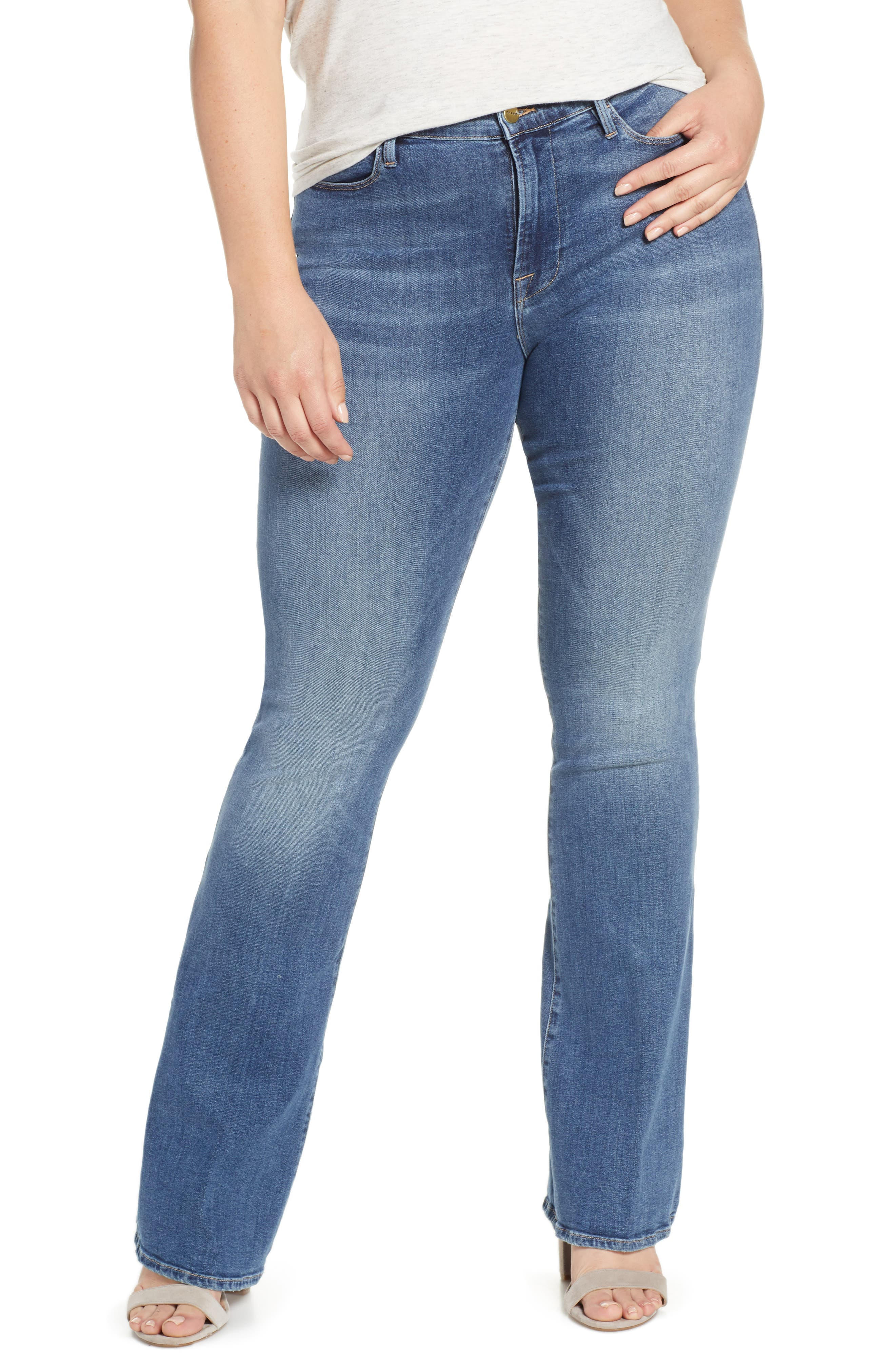 FRAME, Le High Flare Jeans, Alternate thumbnail 2, color, CRISTALLO