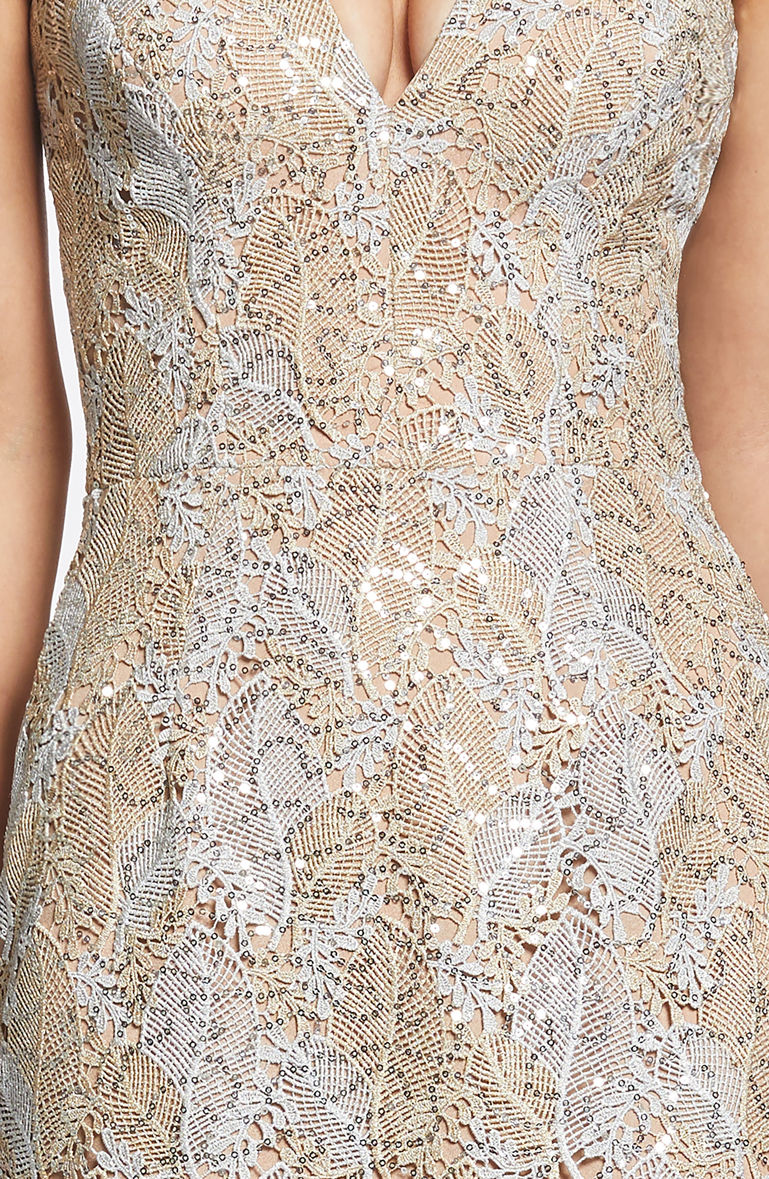 DRESS THE POPULATION, Aurora Lace Sheath Dress, Alternate thumbnail 5, color, PLATINUM/ GOLD