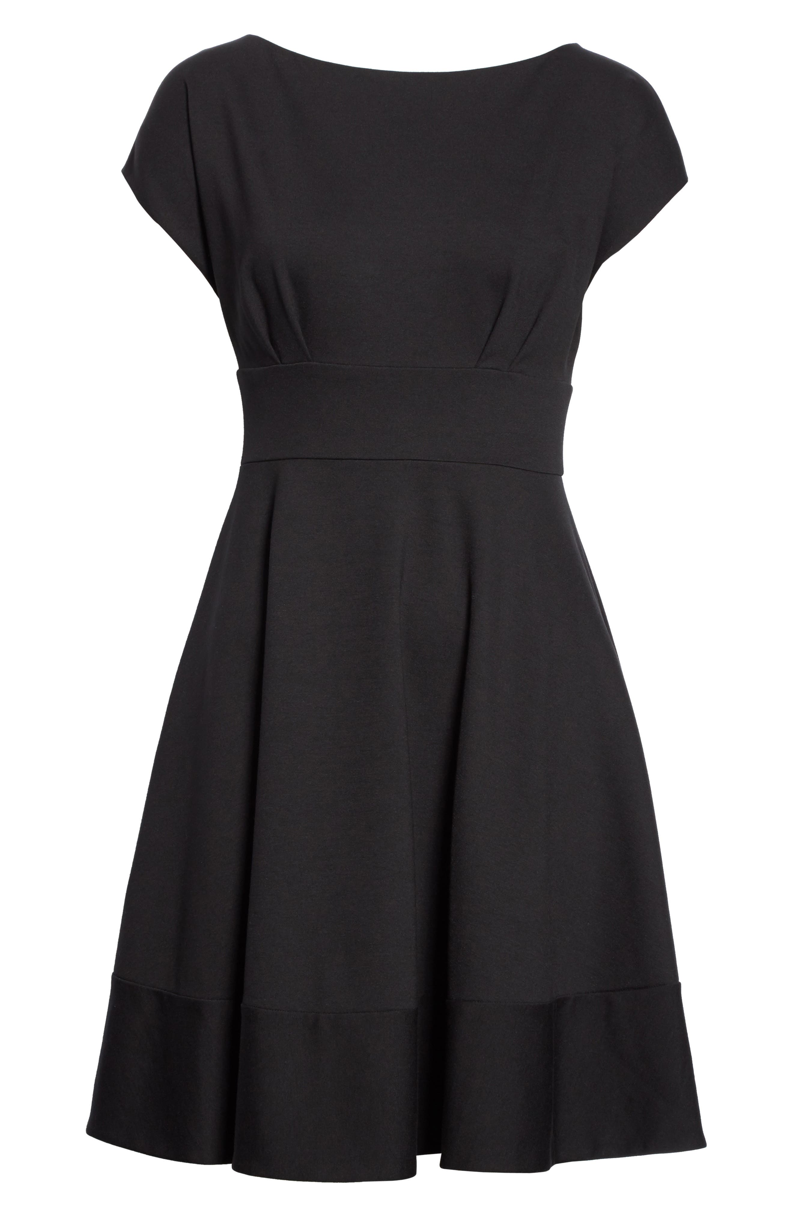 KATE SPADE NEW YORK, ponte fiorella fit & flare dress, Alternate thumbnail 7, color, BLACK