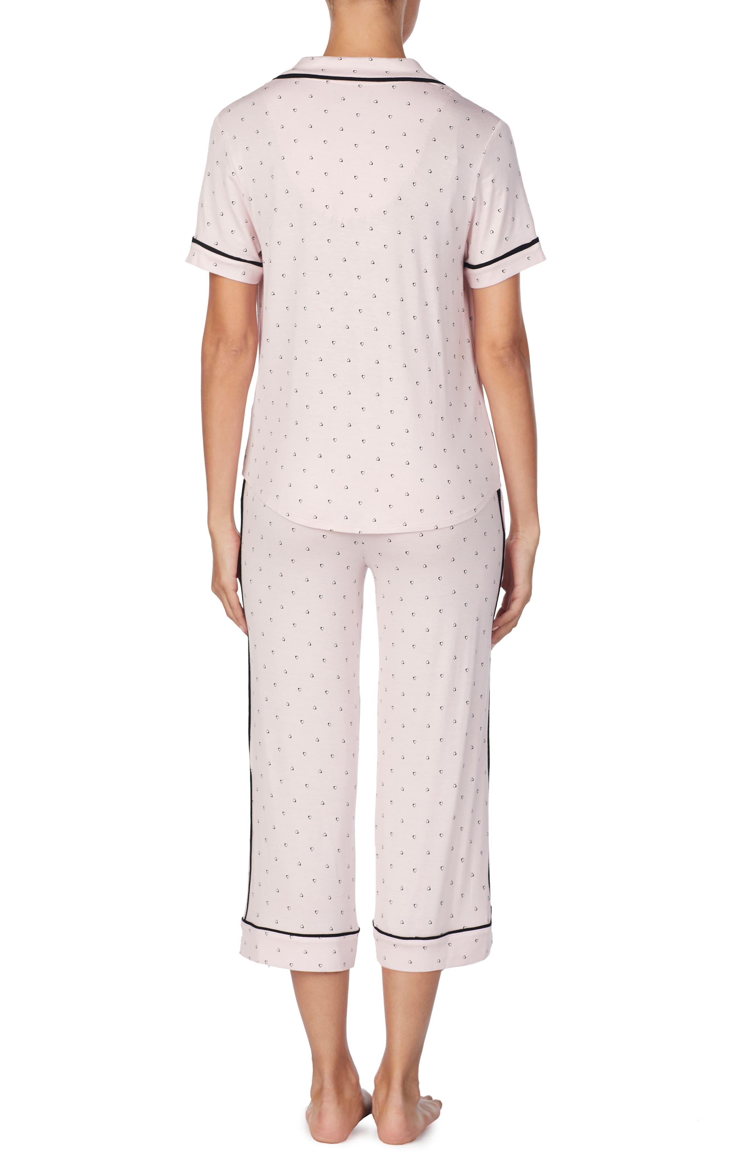 ROOM SERVICE, Crop Pajamas, Alternate thumbnail 2, color, PINK SHADED HEARTS