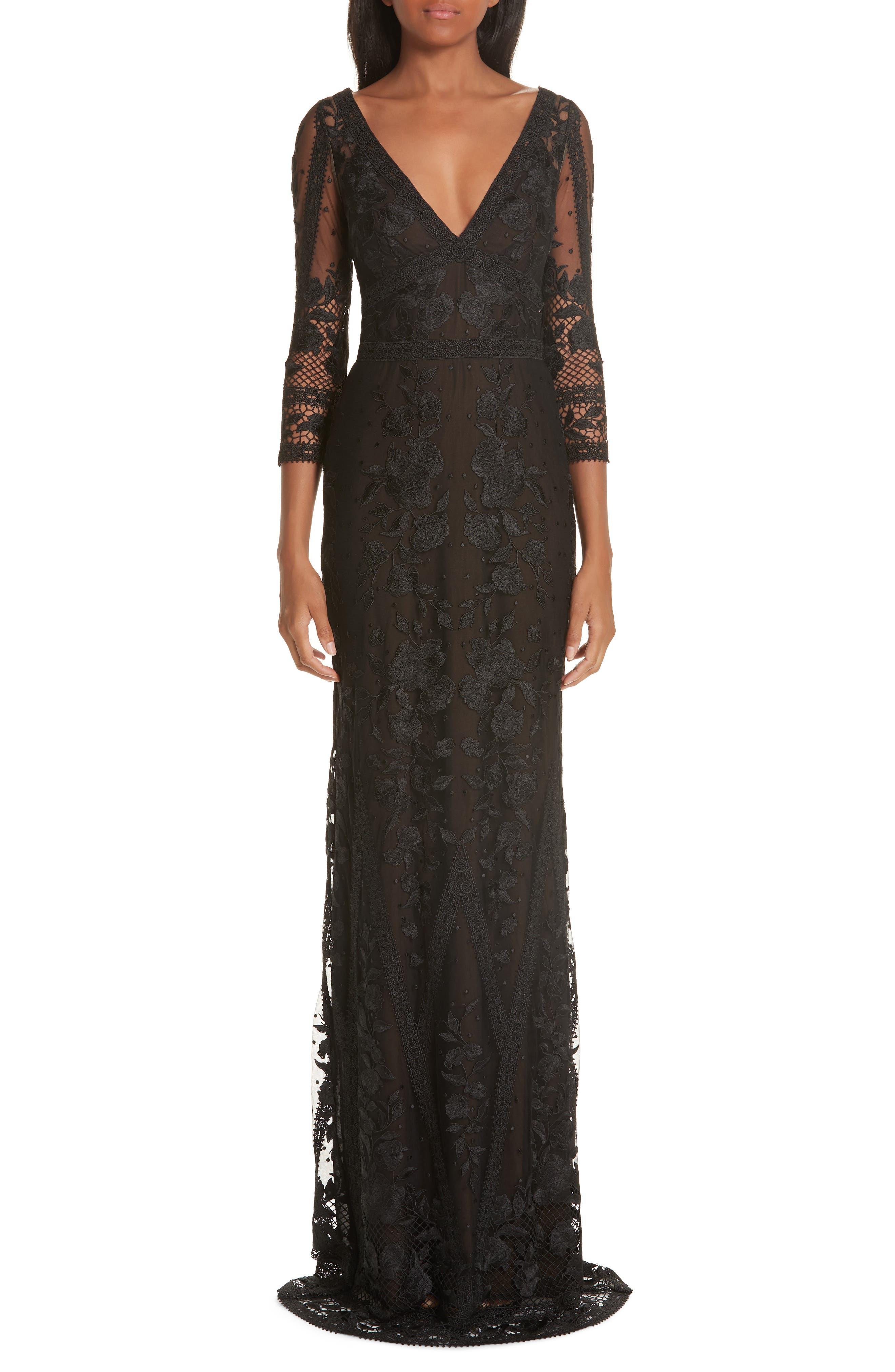 Marchesa Notte Mesh & Lace Evening Dress