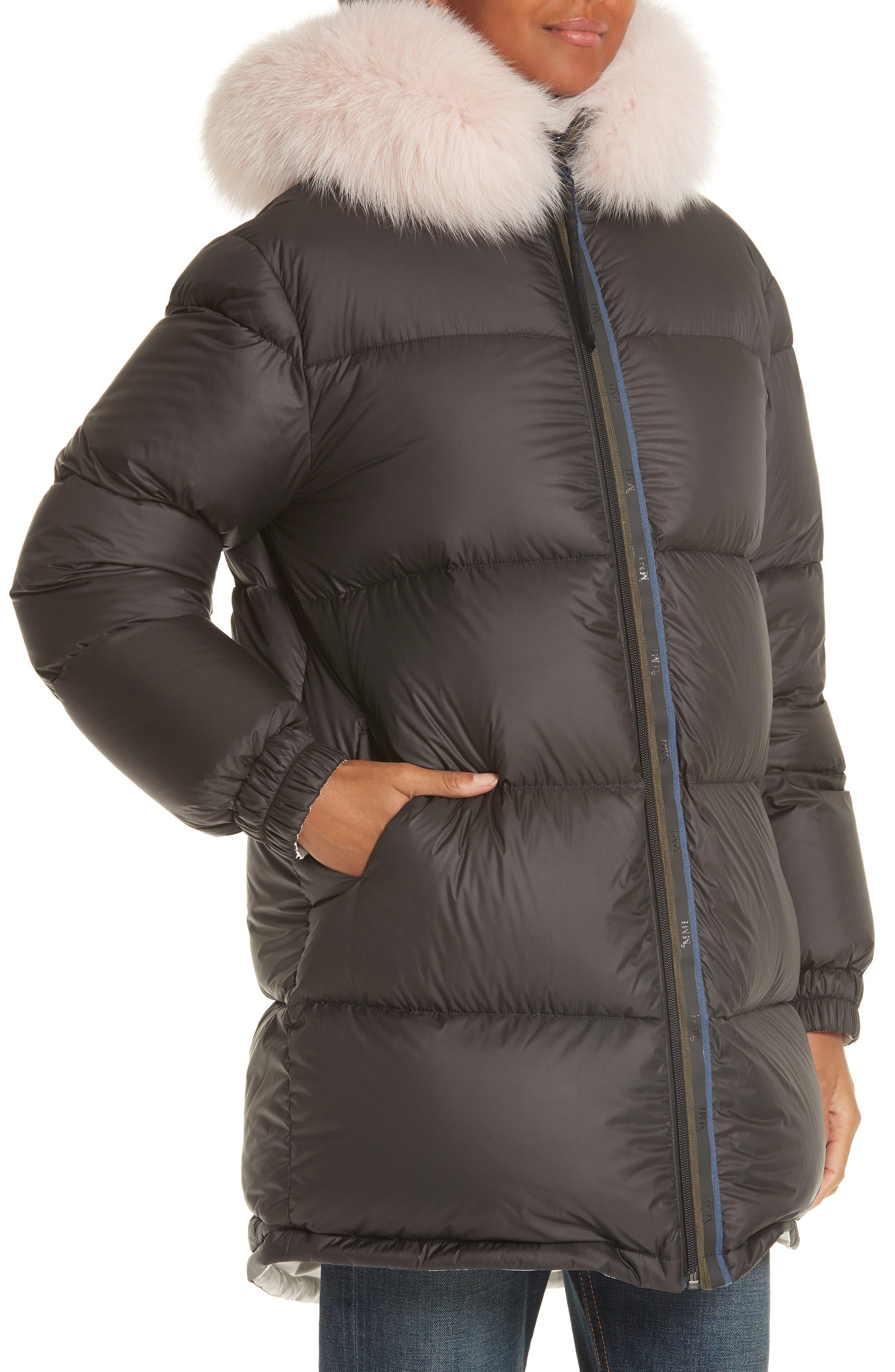 MR & MRS ITALY, Genuine Fox Fur Trim Down Fill Puffer Coat, Alternate thumbnail 2, color, BLACK