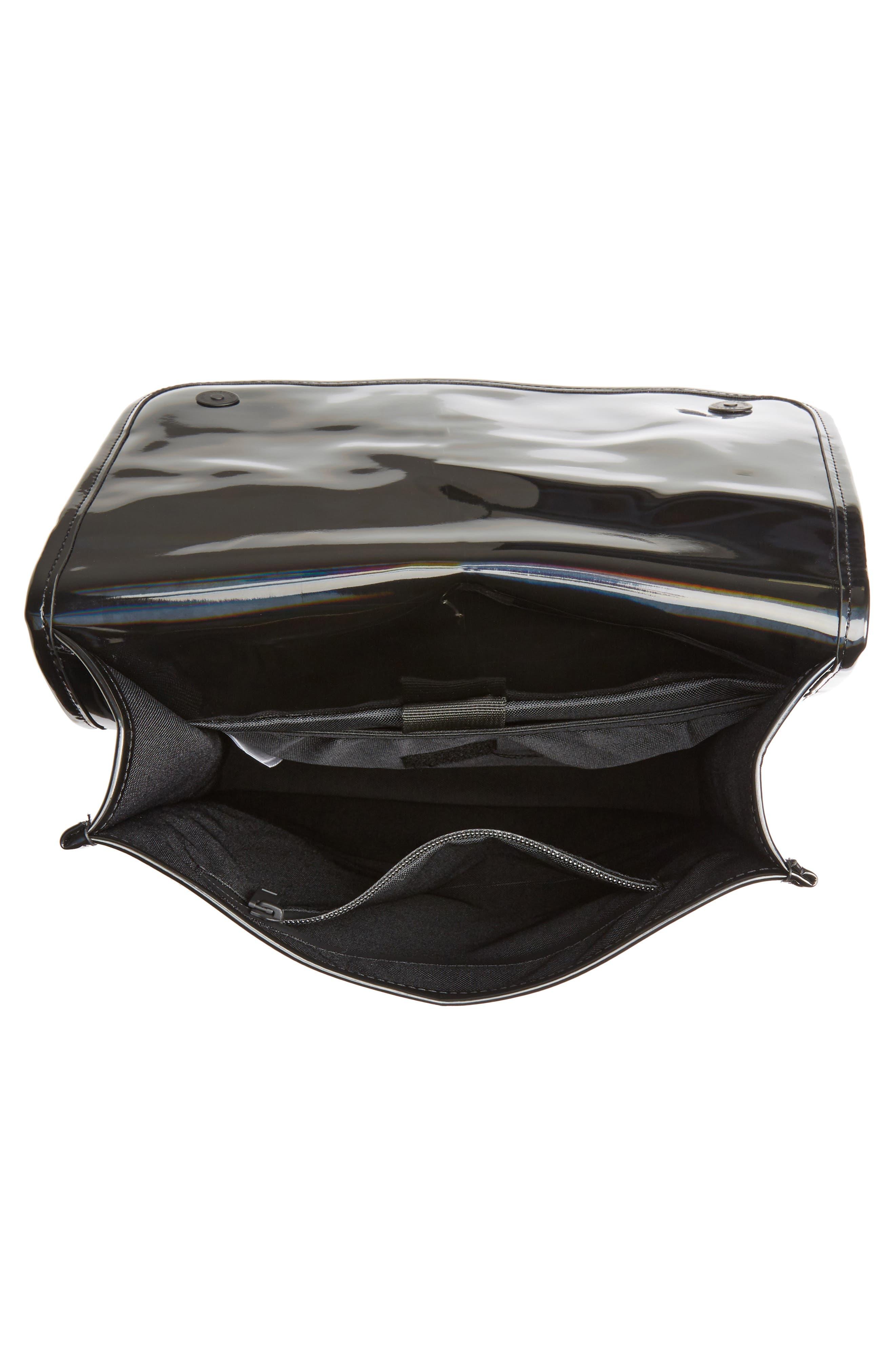 RAINS, Mini Waterproof Holographic Backpack, Alternate thumbnail 4, color, BLACK