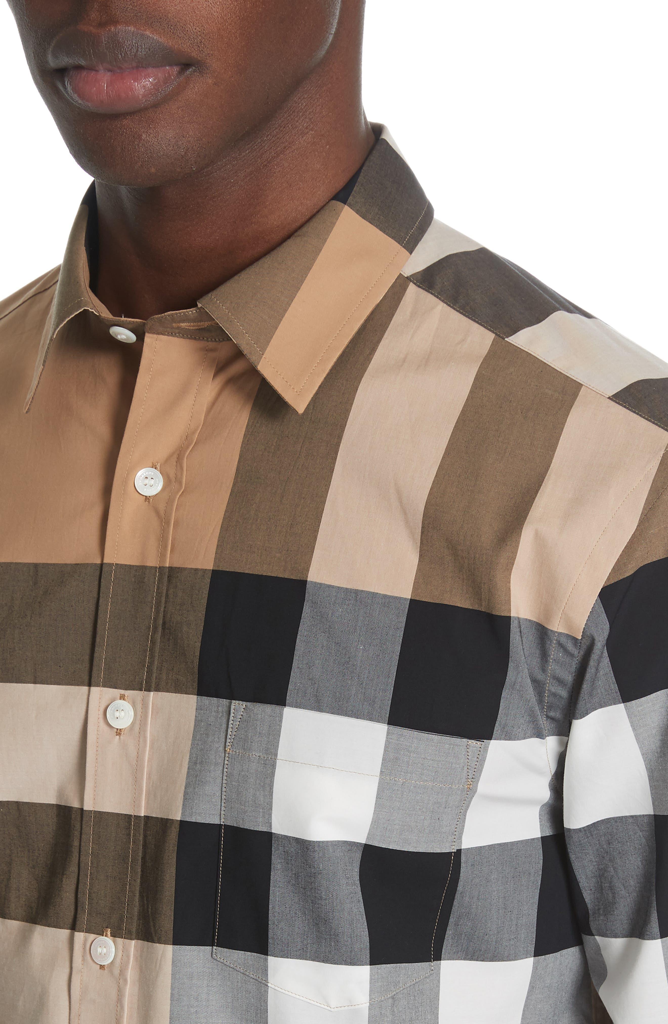 BURBERRY, Windsor Check Sport Shirt, Alternate thumbnail 2, color, CAMEL