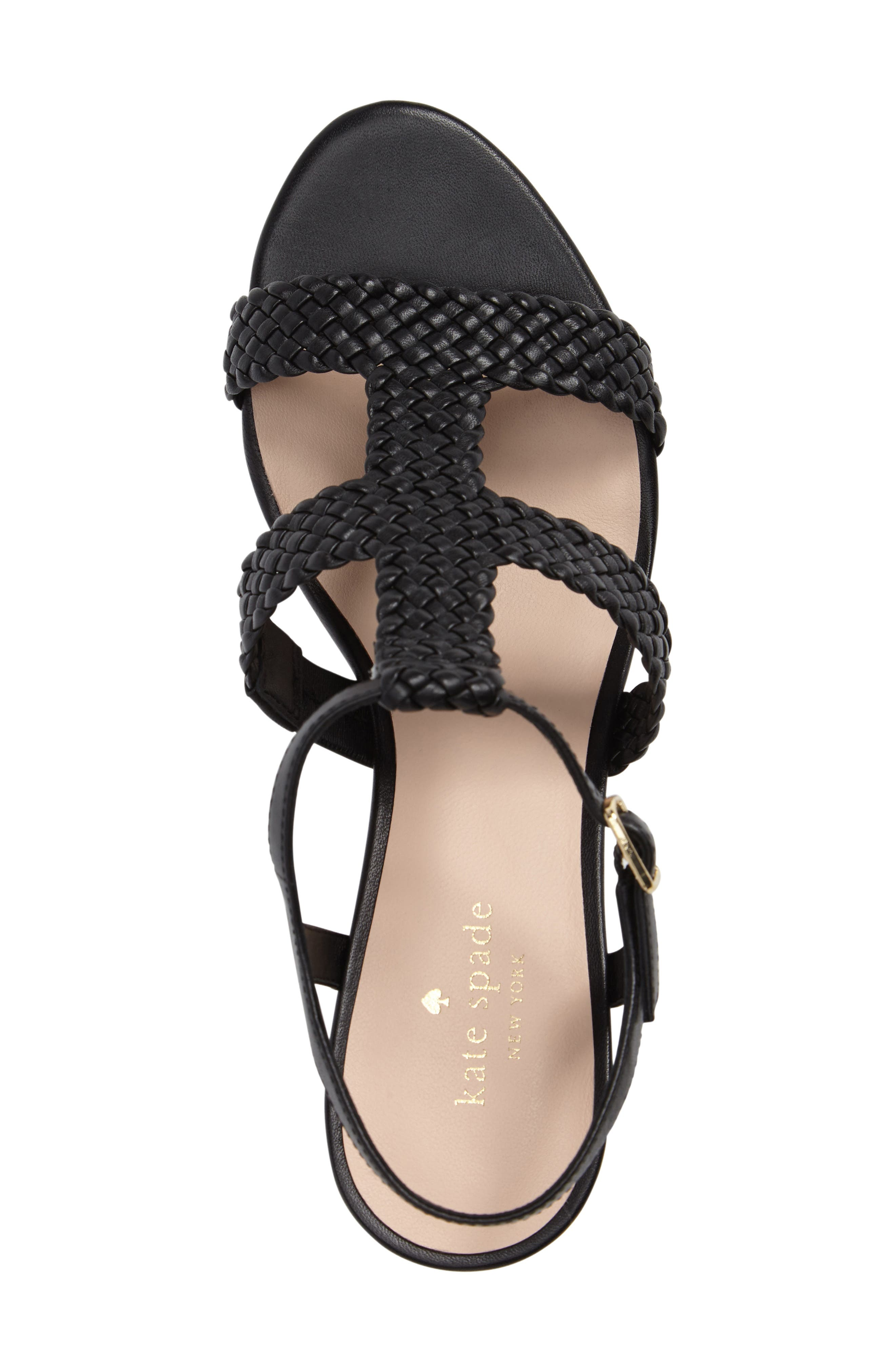 KATE SPADE NEW YORK, tianna platform sandal, Alternate thumbnail 5, color, 001