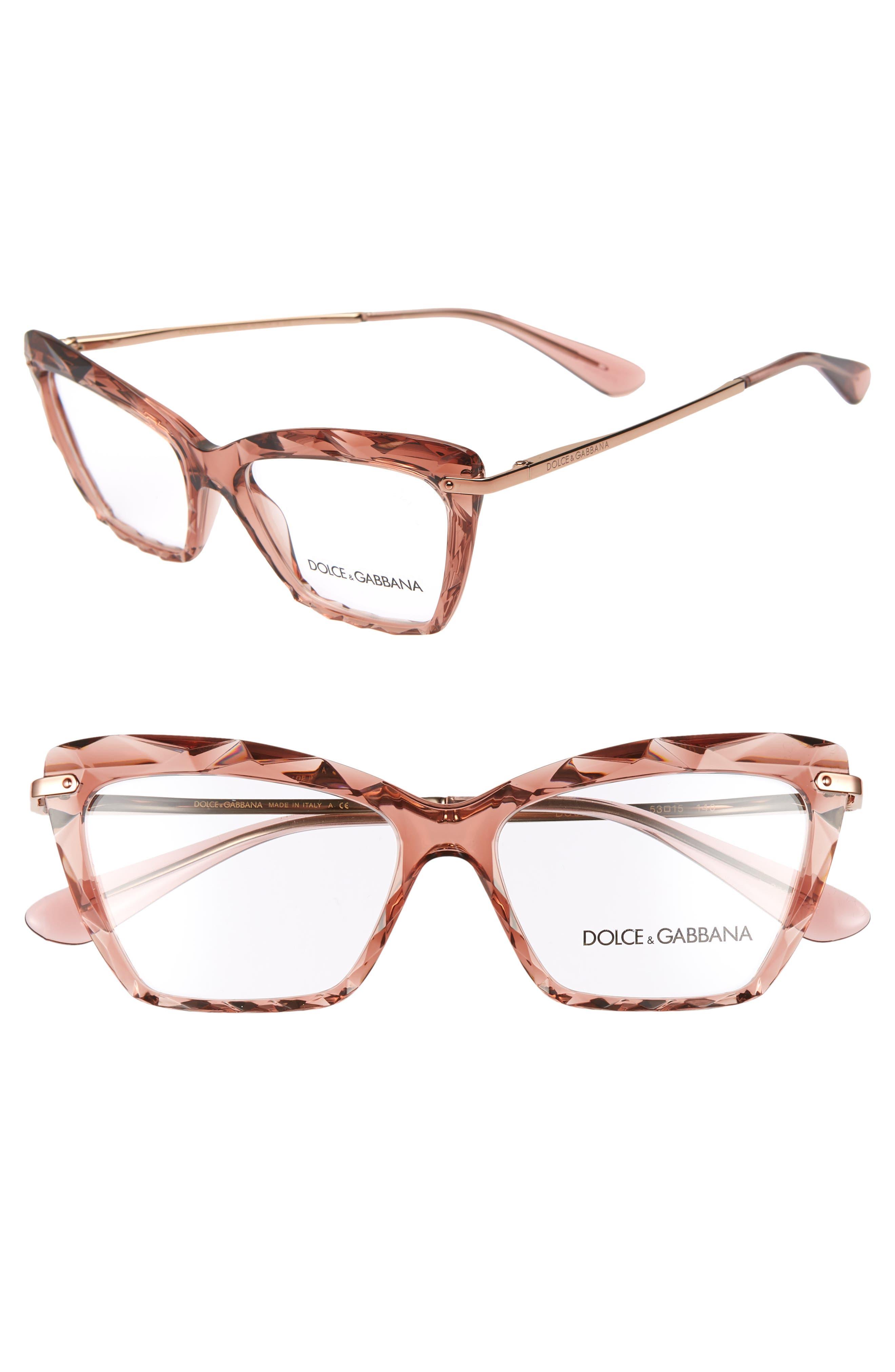 DOLCE&GABBANA 53mm Cat Eye Optical Glasses, Main, color, TRANSPARENT PINK
