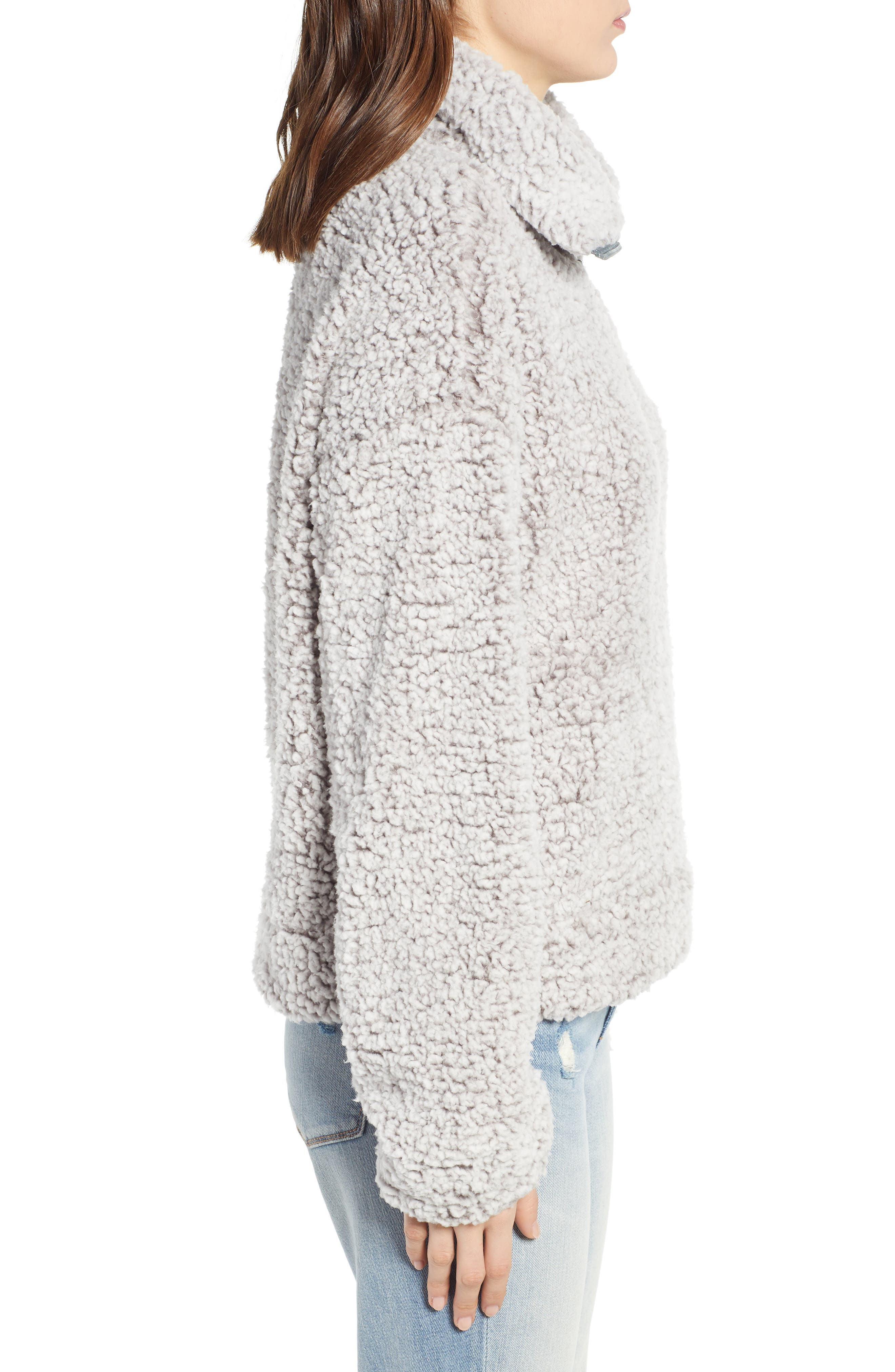 THREAD & SUPPLY, Quarter Zip Fleece Pullover, Alternate thumbnail 4, color, SILVER