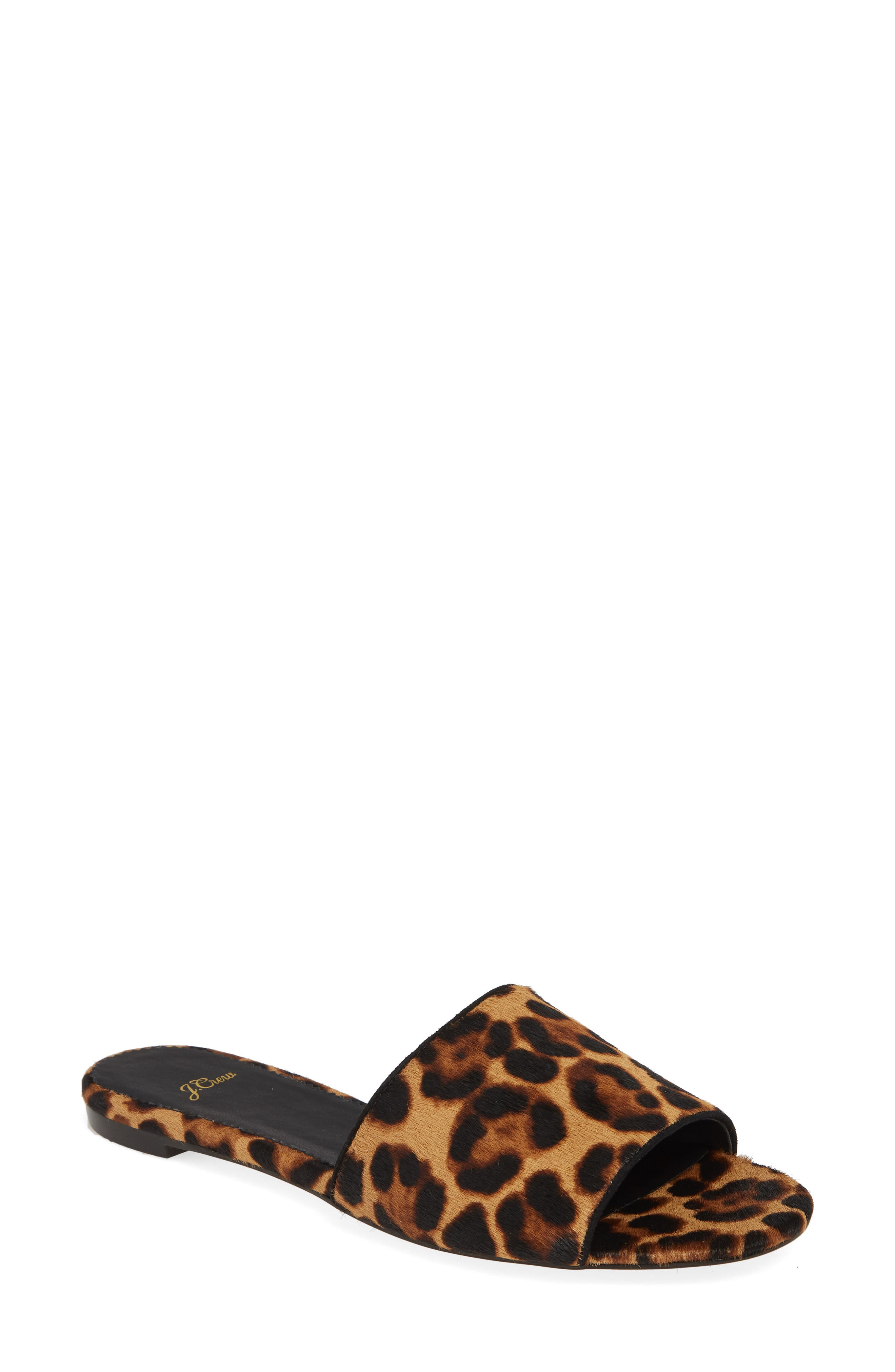 J.CREW Cora Leopard Print Calf Hair Slide Sandal, Main, color, LEOPARD PRINT CALF HAIR