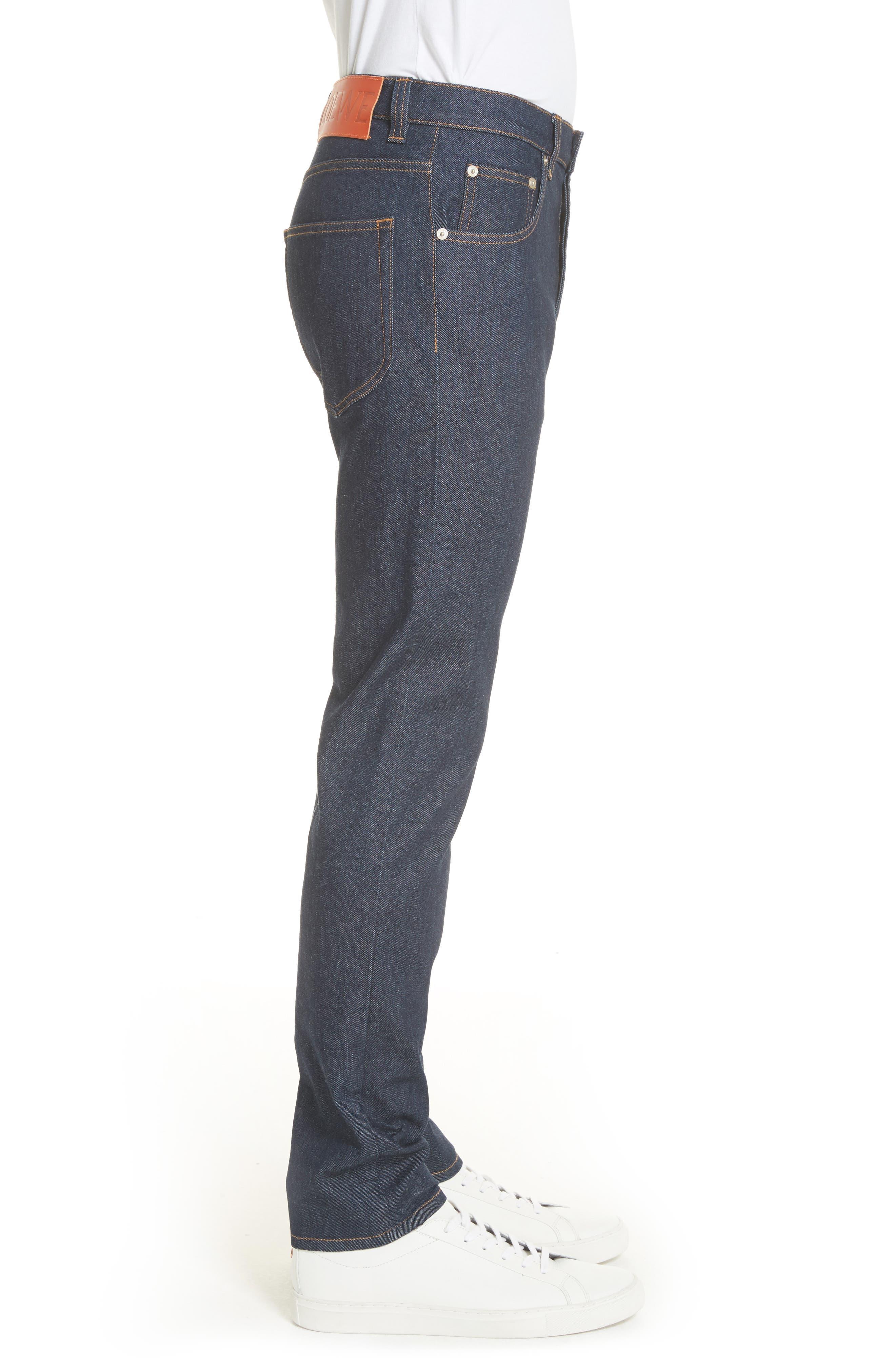 LOEWE, Skinny Fit Jeans, Alternate thumbnail 3, color, BLUE DENIM
