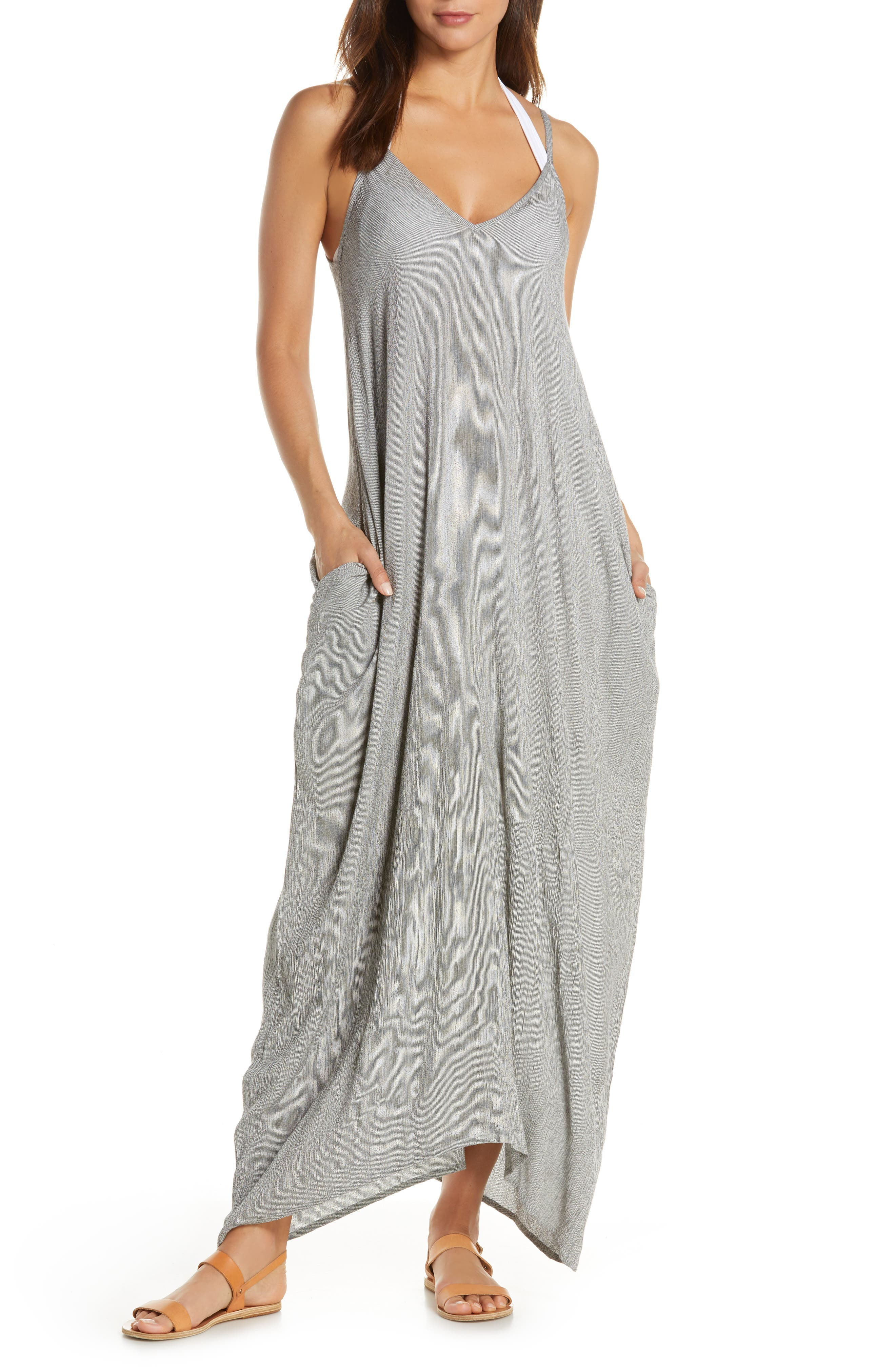 ELAN, Cover-Up Maxi Dress, Main thumbnail 1, color, BLACK MICRO STRIPE