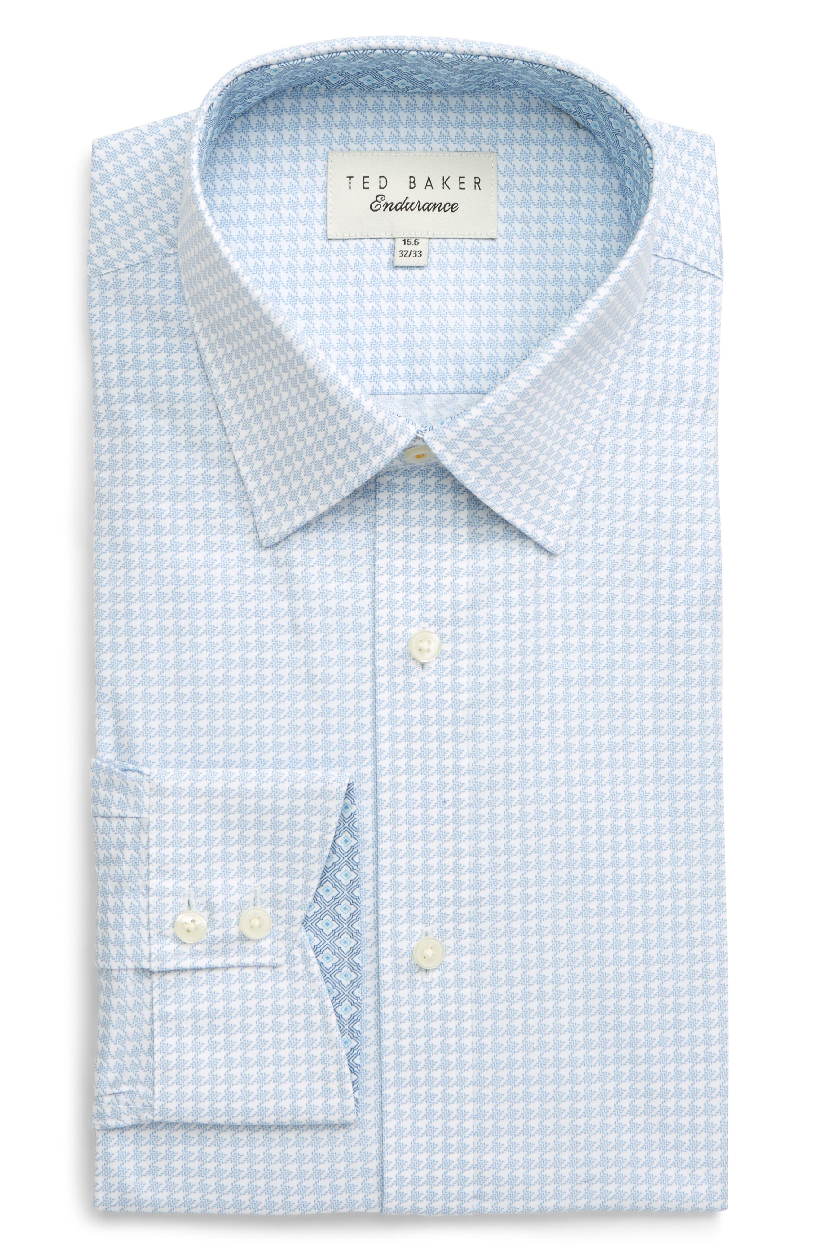 TED BAKER LONDON, Endurance Grahite Slim Fit Houndstooth Dress Shirt, Main thumbnail 1, color, BLUE