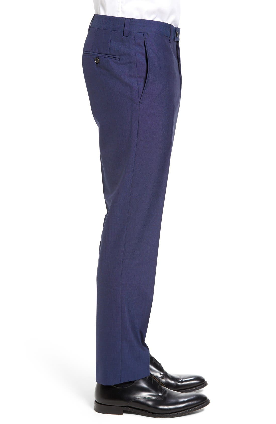 TED BAKER LONDON, Jefferson Flat Front Solid Wool Trousers, Alternate thumbnail 9, color, BLUE