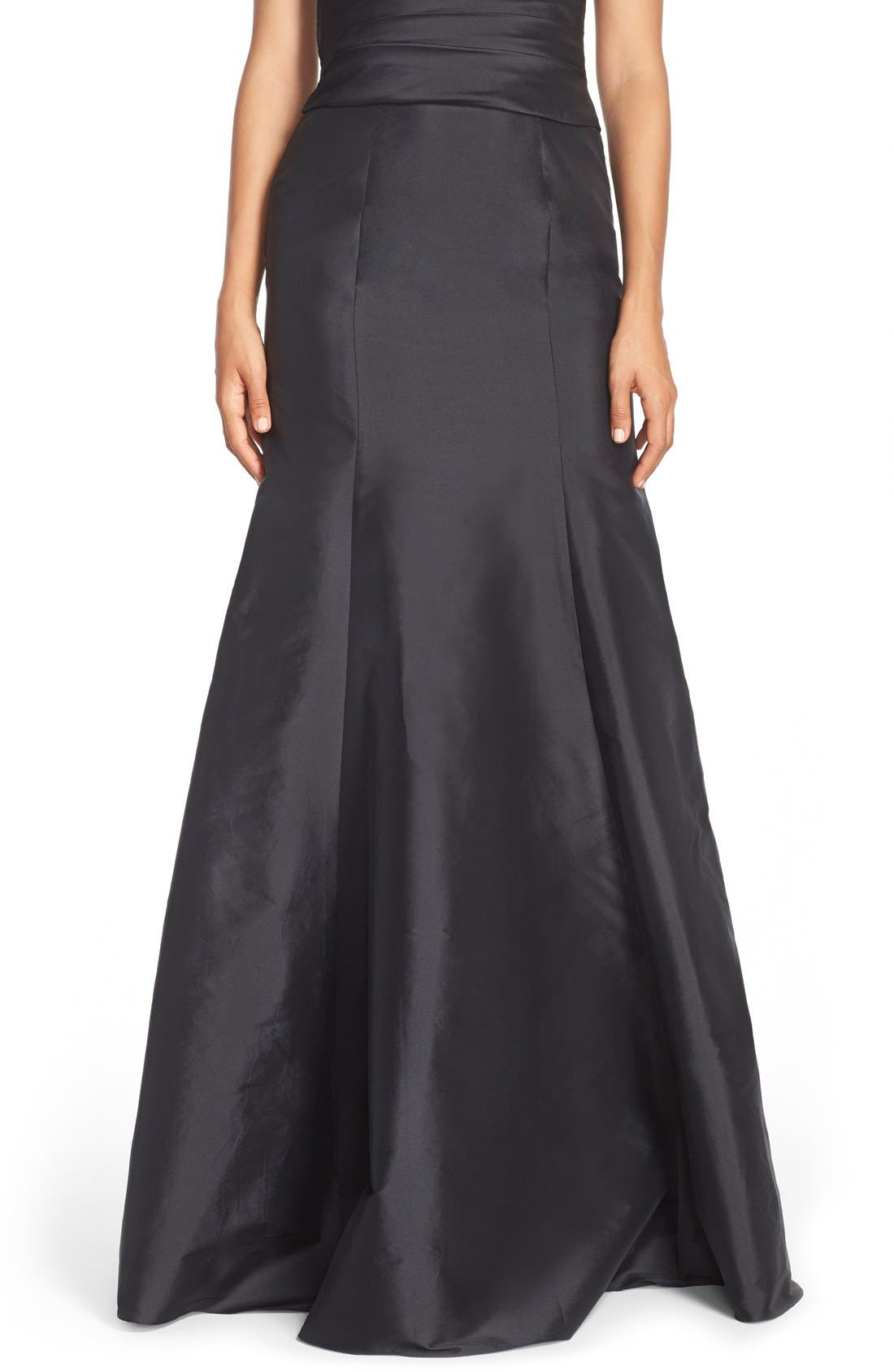 MONIQUE LHUILLIER BRIDESMAIDS, Floor Length Taffeta Mermaid Skirt, Main thumbnail 1, color, 001
