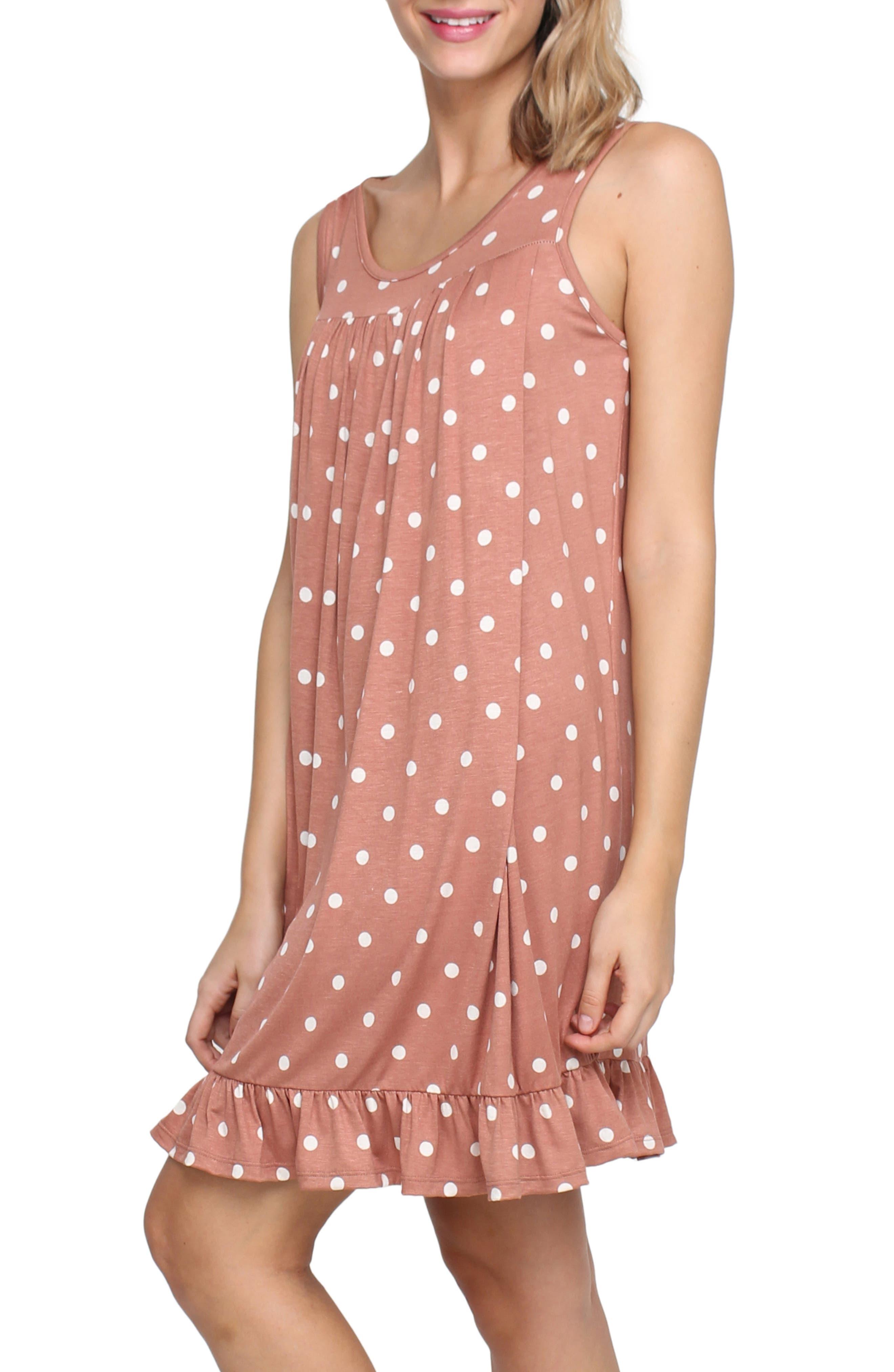 SAVI MOM, Paris Maternity/Nursing Nightgown, Alternate thumbnail 3, color, MAUVE POLKA DOT